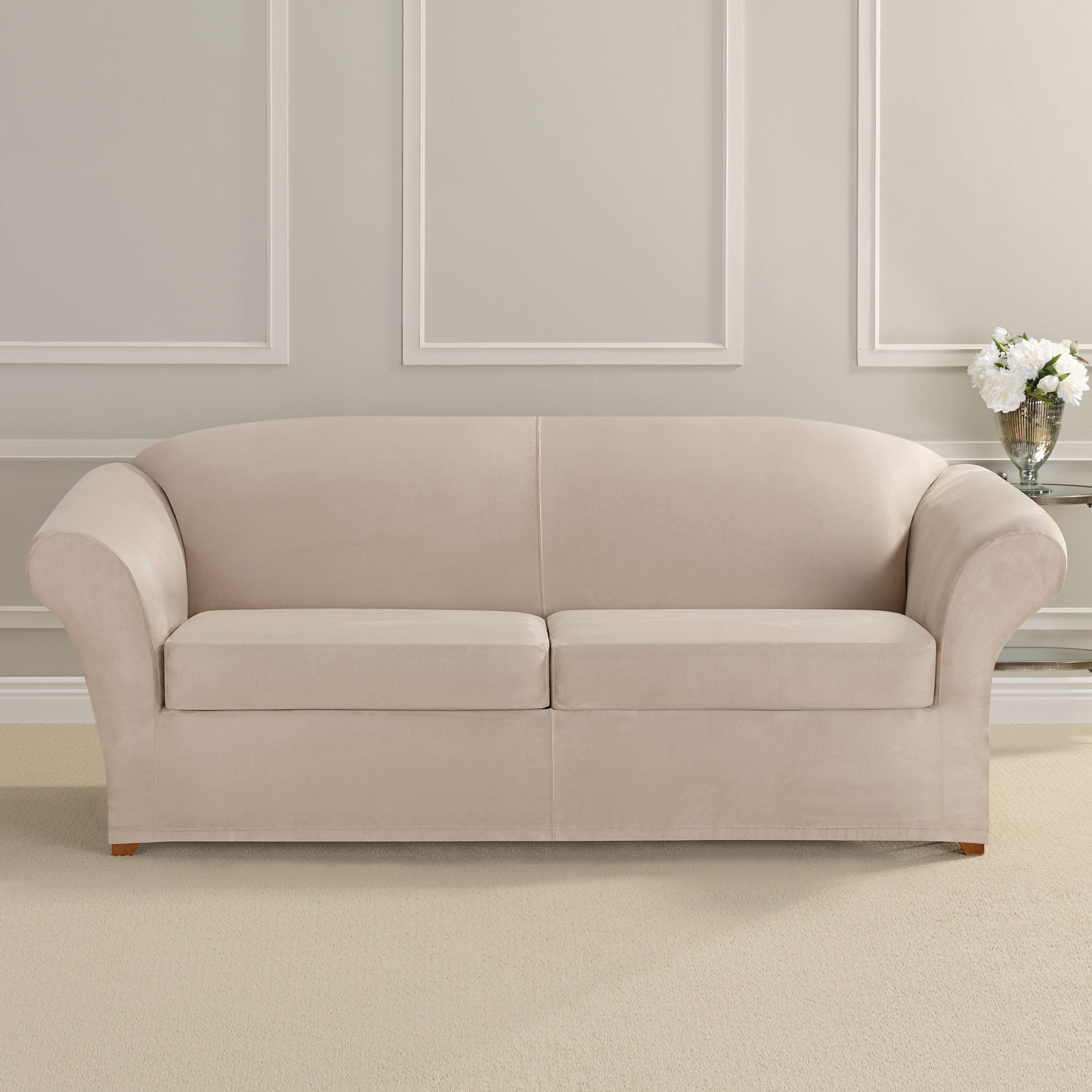 Ultimate Stretch Faux Suede 2-Seat Sofa Cushion Slipcover , CEMENT