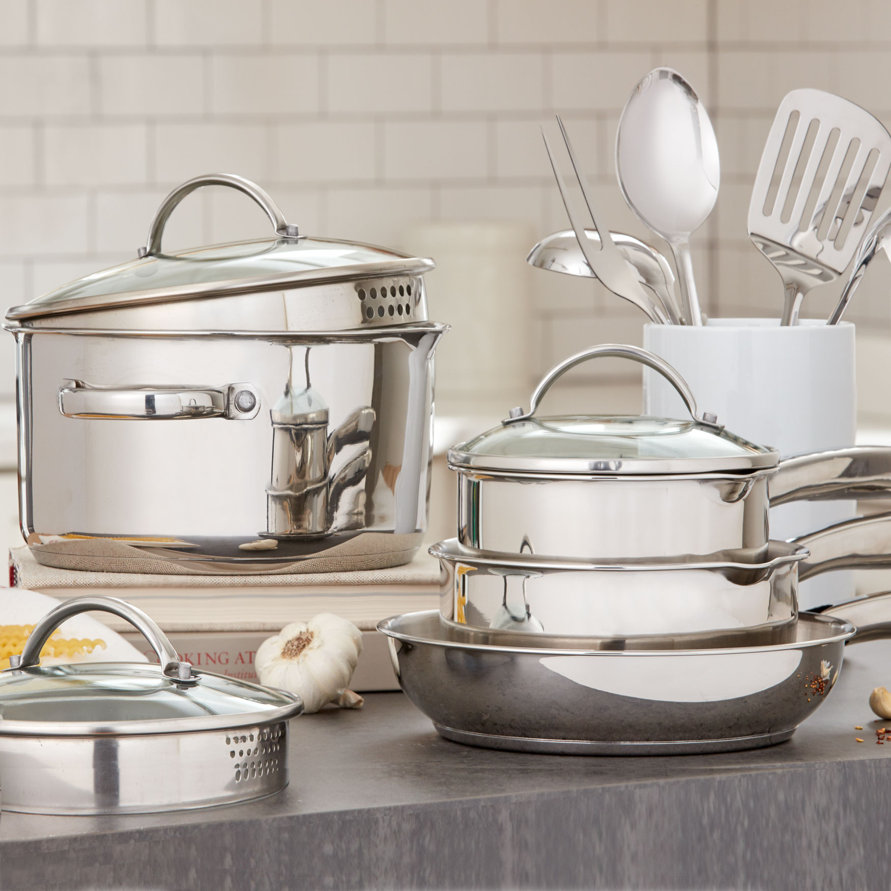 12-Pc. Stainless Steel Cookware & Utensil Set, STAINLESS STEEL