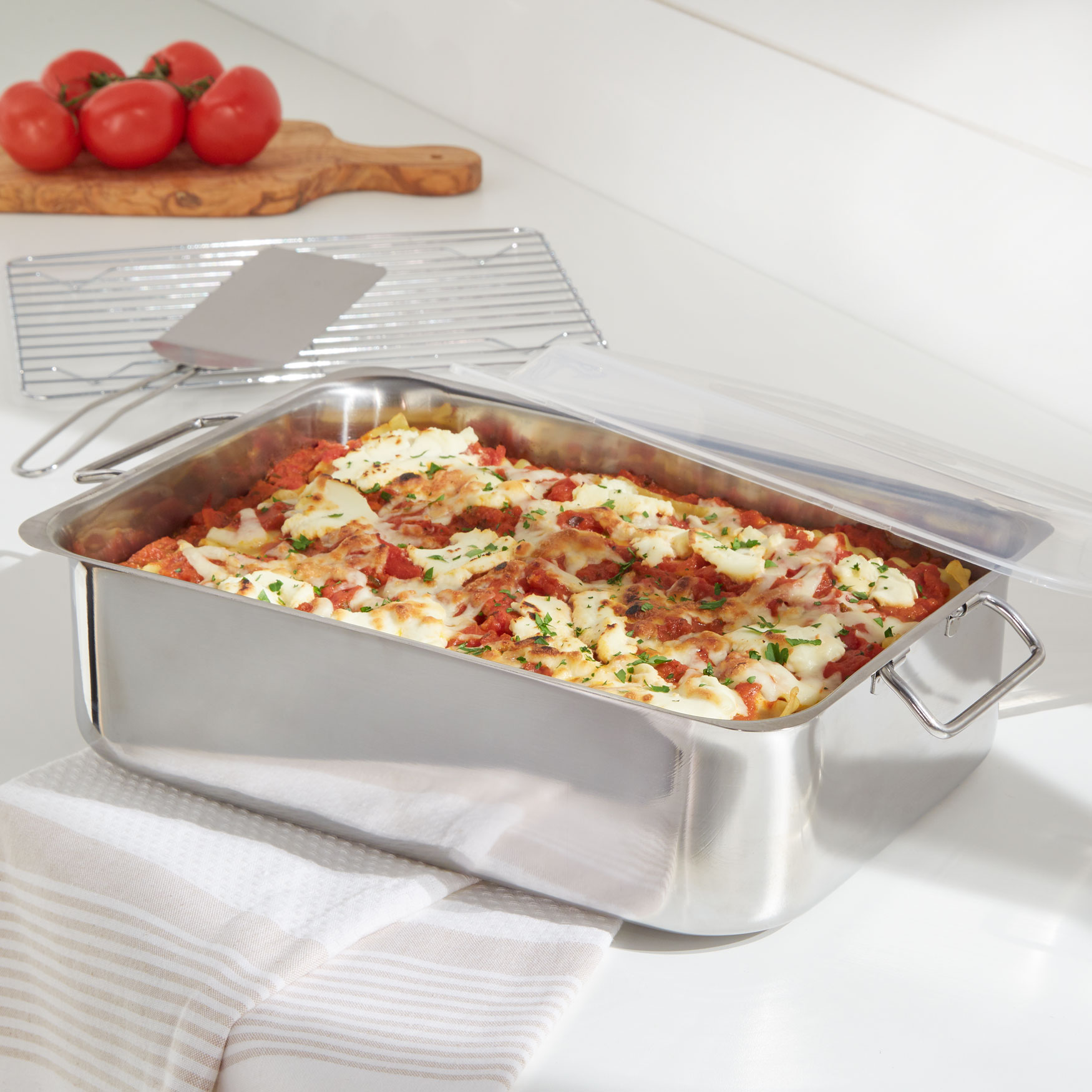 4-Pc. All-In-One Roaster & Lasagna Pan, STAINLESS