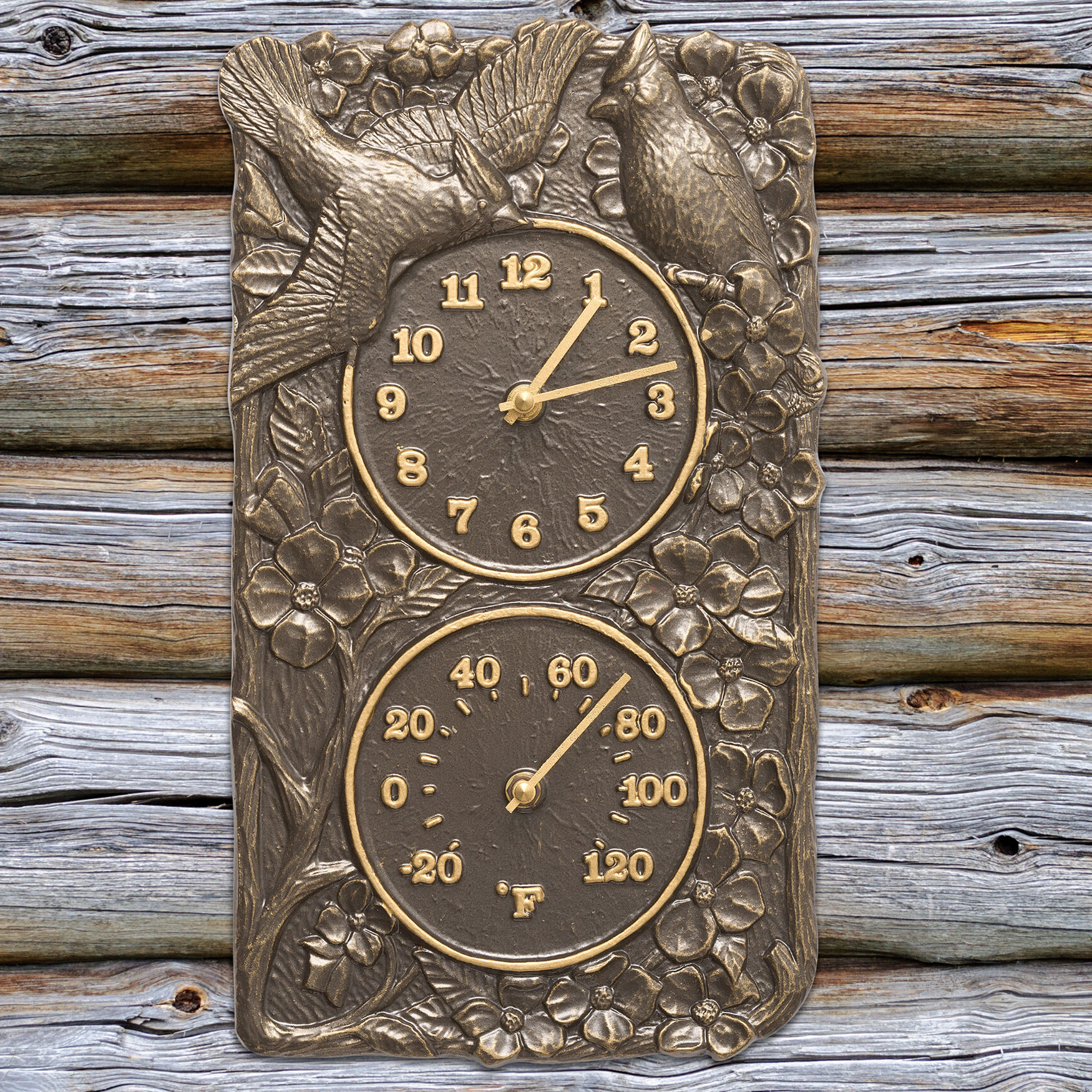 Cardinal Combo Clock And Thermometer, FRENCH BRONZE
