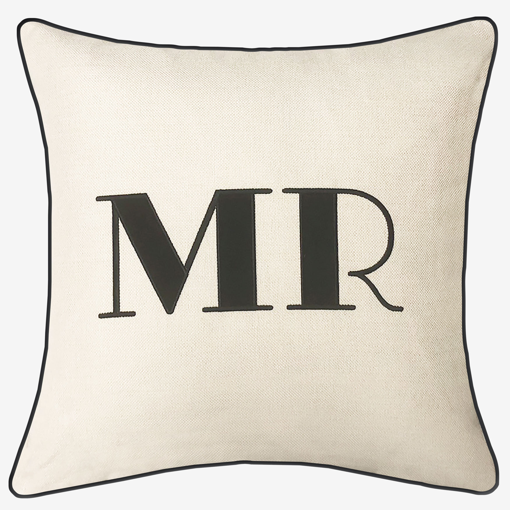 "Embroidered Appliqued ""Mr"" Decorative Pillow, OYSTER BLACK"