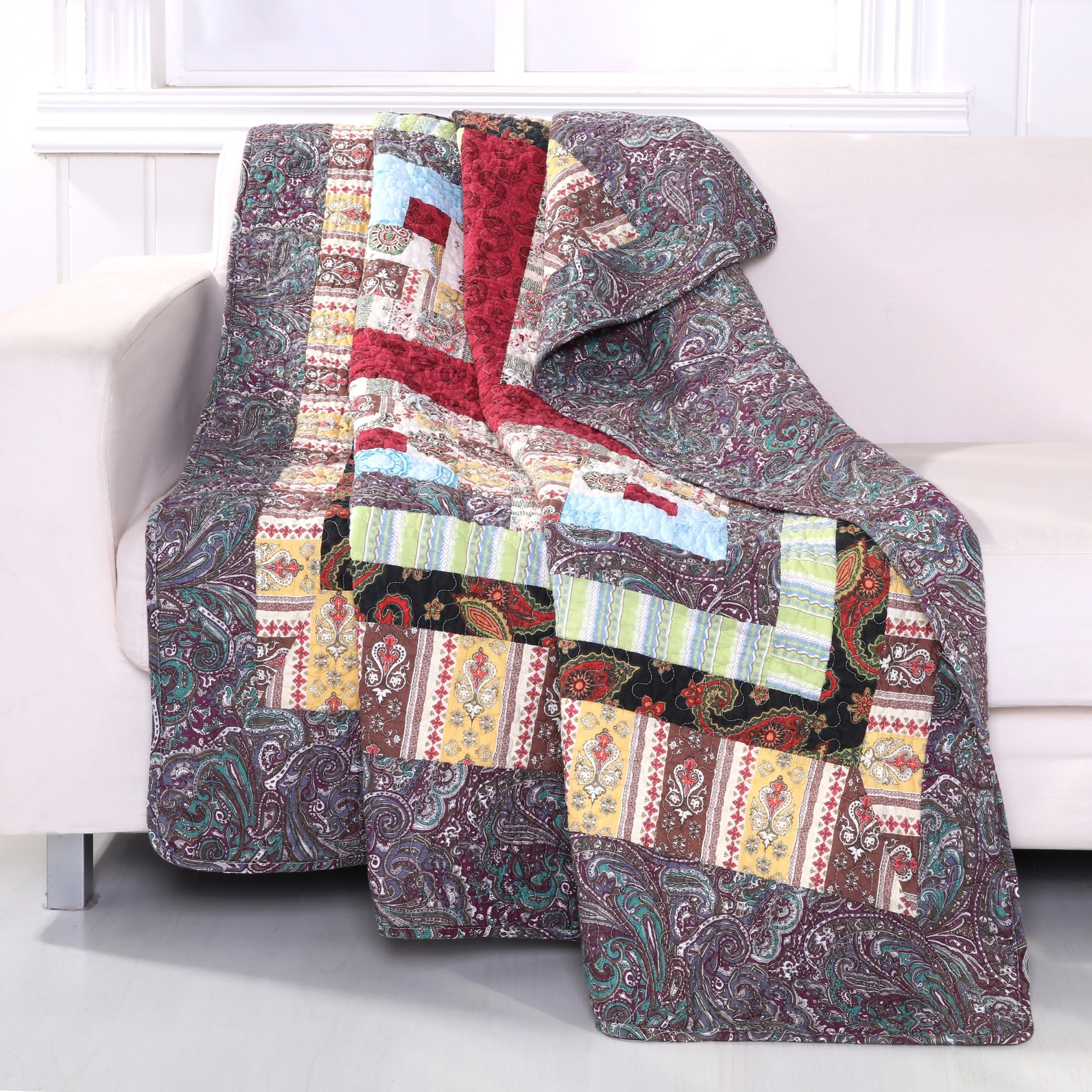 Greenland Home Fashions Colorado Lodge Quilted Patchwork Throw Blanket, MULTI