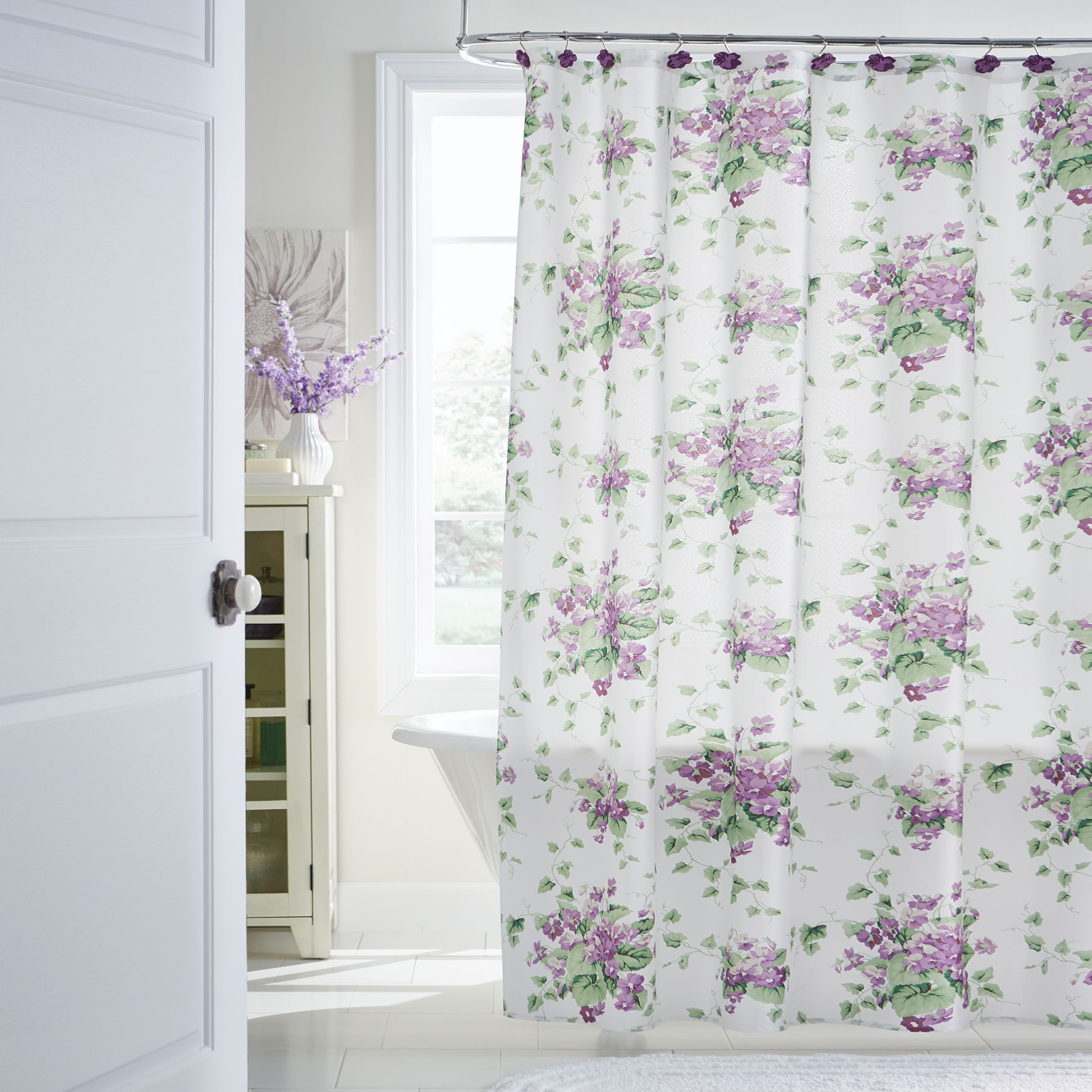 13-Pc. Waverly Floral Shower Curtain Set, SWEET VIOLET