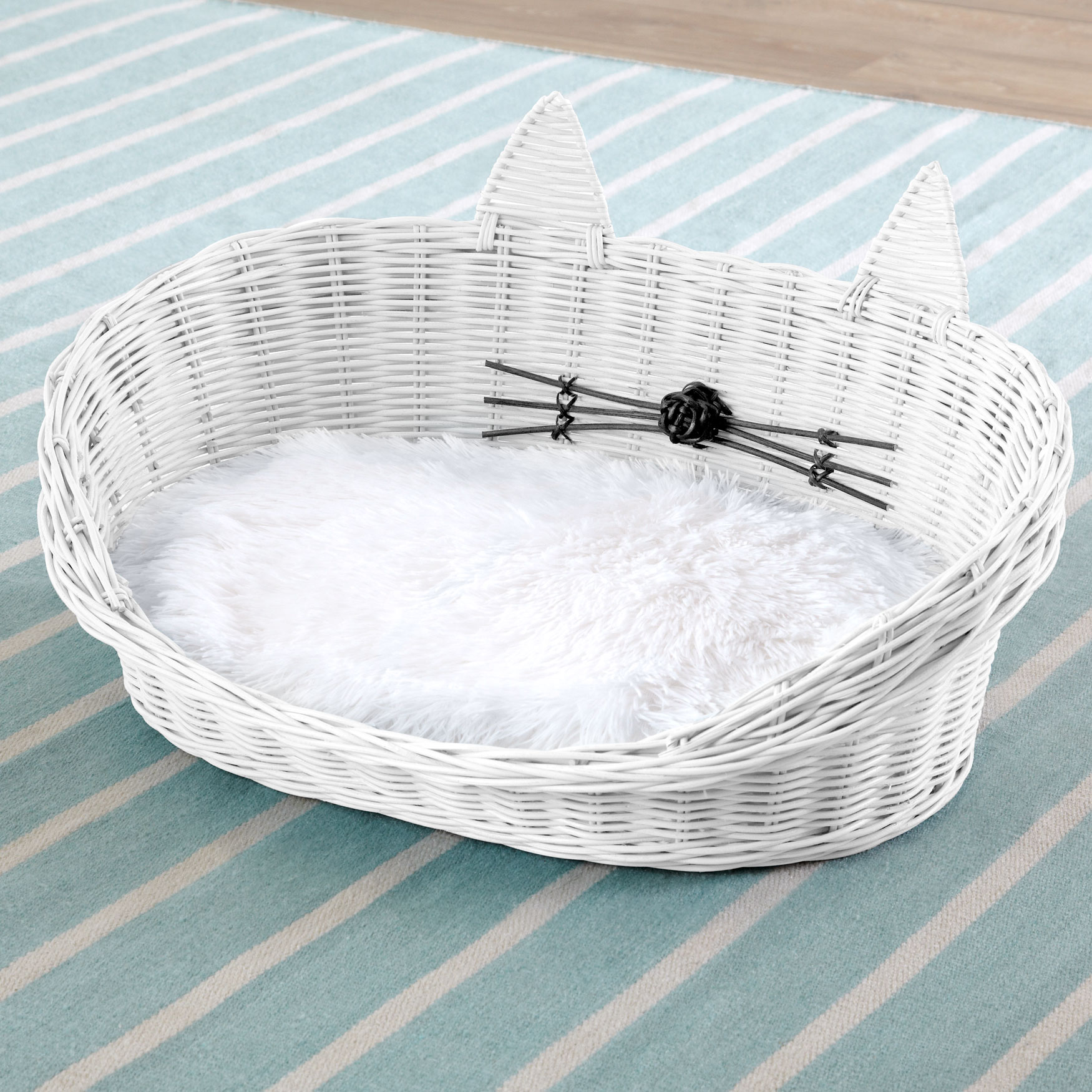 Cat Ear Rattan Pet Bed, WHITE