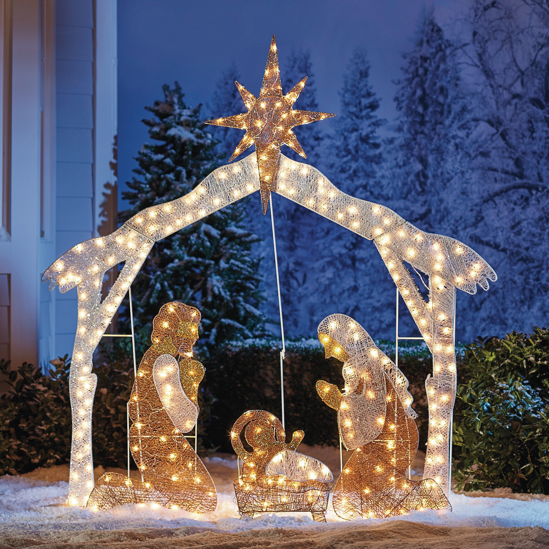 crystal splendor outdoor nativity scene white - Outdoor Christmas Decorations Nativity Scene