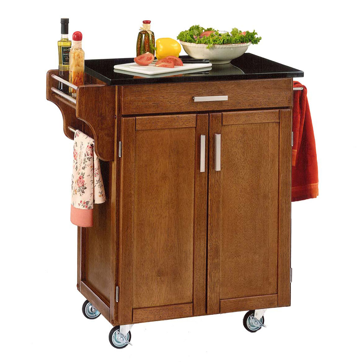 Cottage Oak Finish Create a Cart with Black Granite Top , OAK BLACK