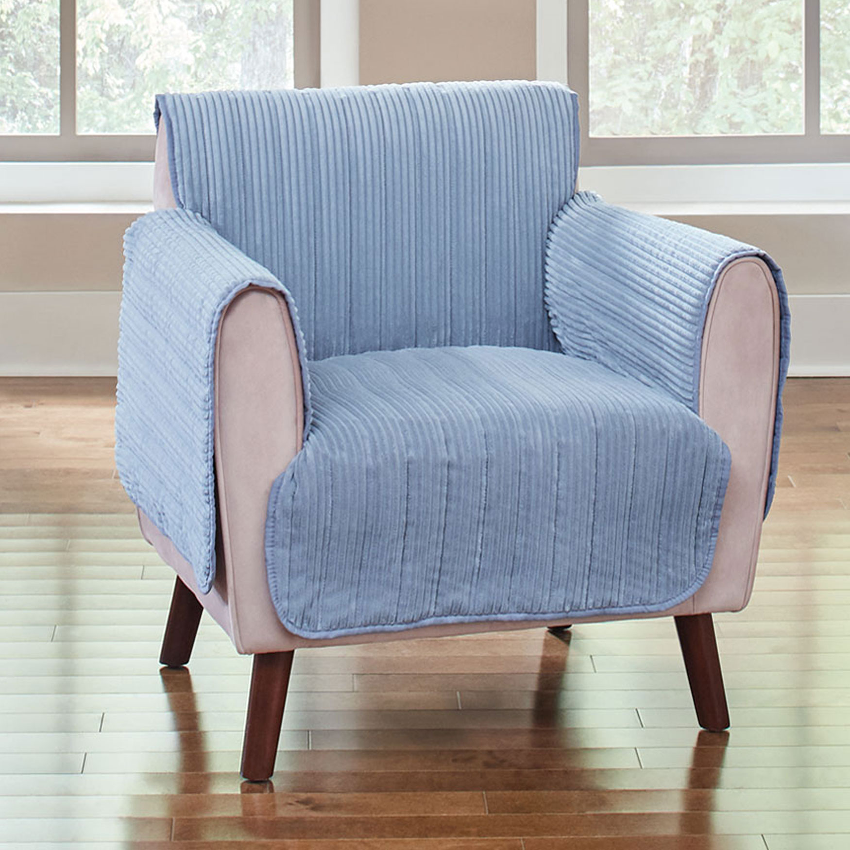Reversible Plush Stripe Chair Protector,