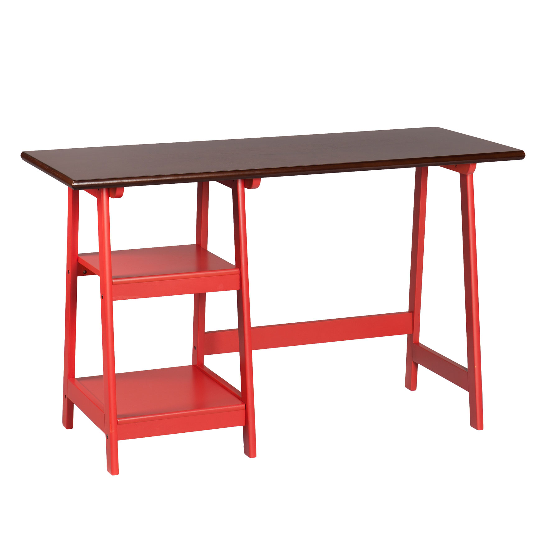 Farmhouse-Styled Simple A-Shape Desk, RED ESPRESSO
