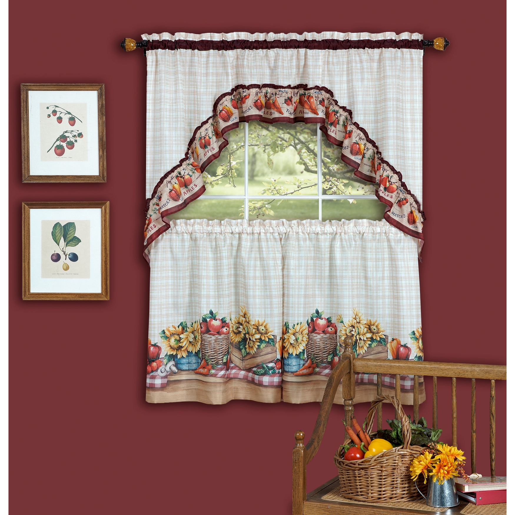 Farmer's Market Printed Tier and Swag Window Curtain Set,