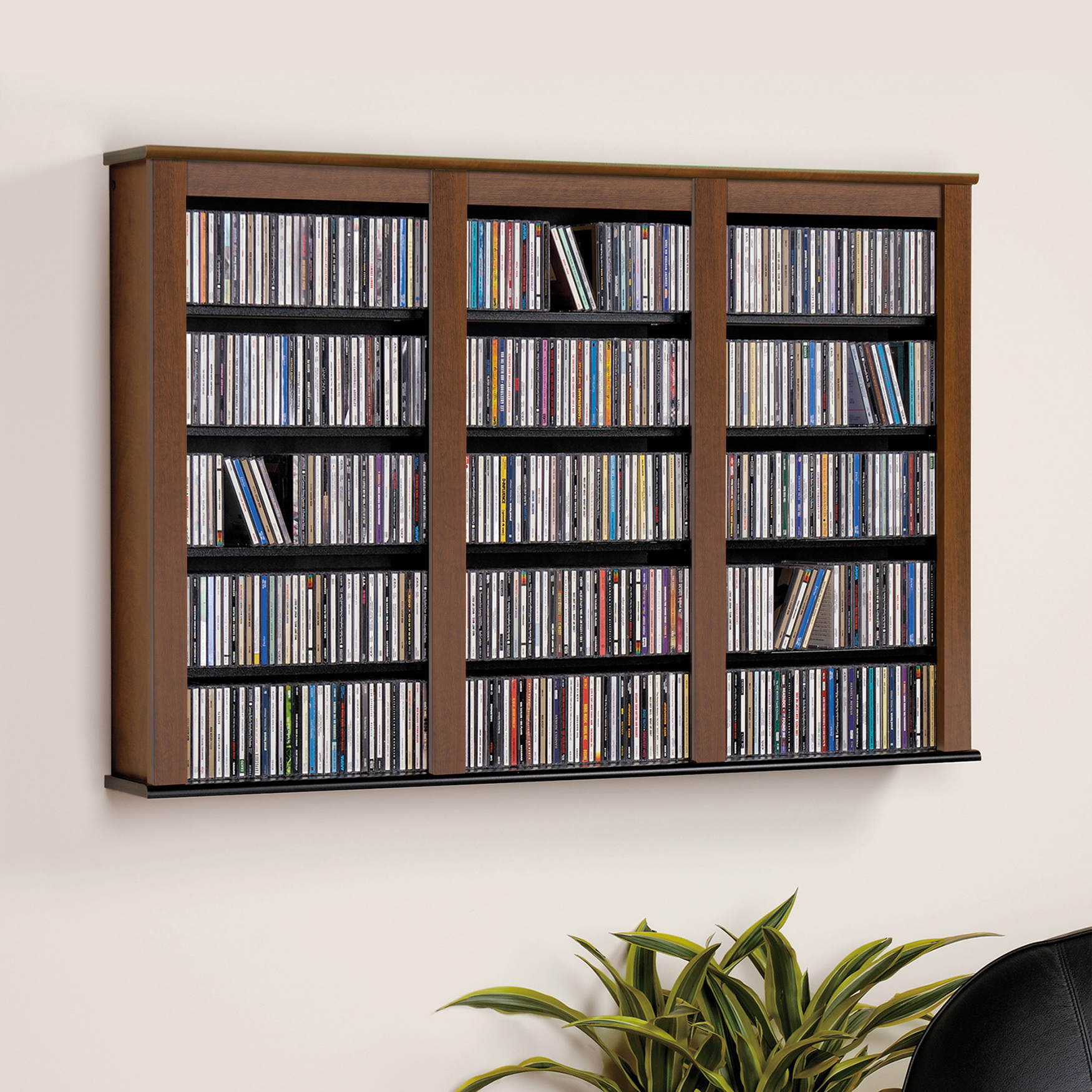 Triple Wall Mounted Storage, Black, BLACK