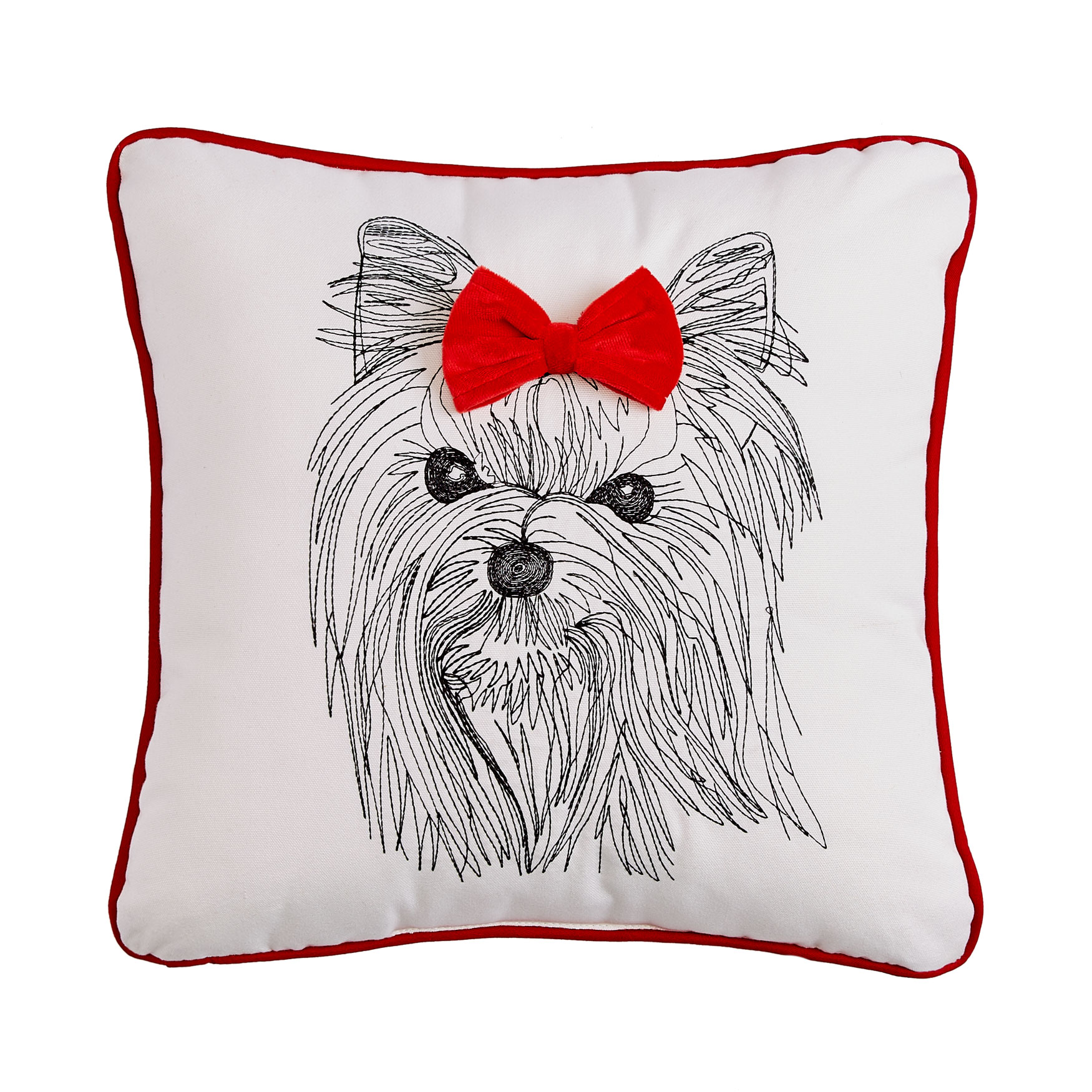 Holiday Dog with Bow Pillow , RED WHITE