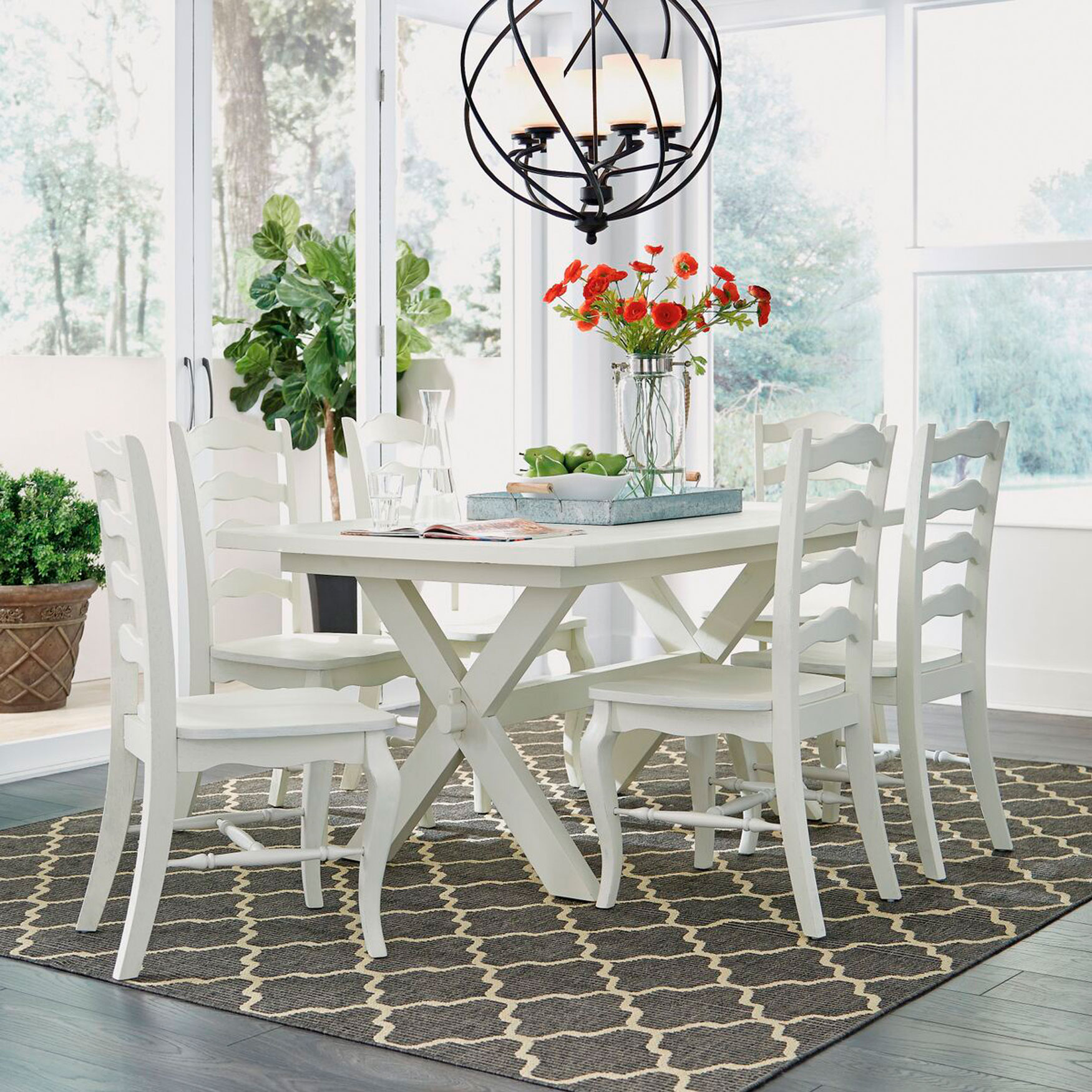 Seaside Lodge Dining Table, WHITE