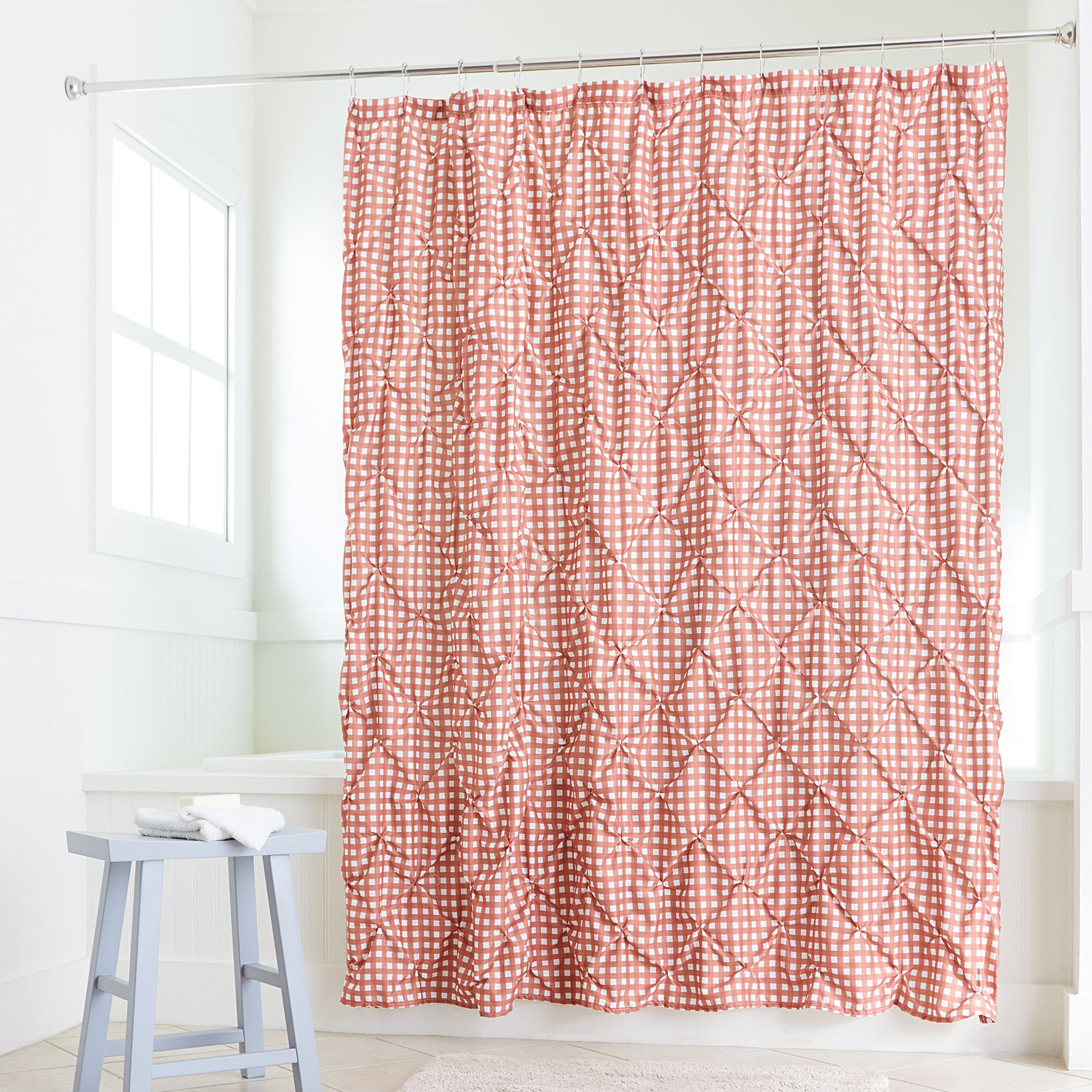 Lucy Gingham Shower Curtain DUSTY ROSE