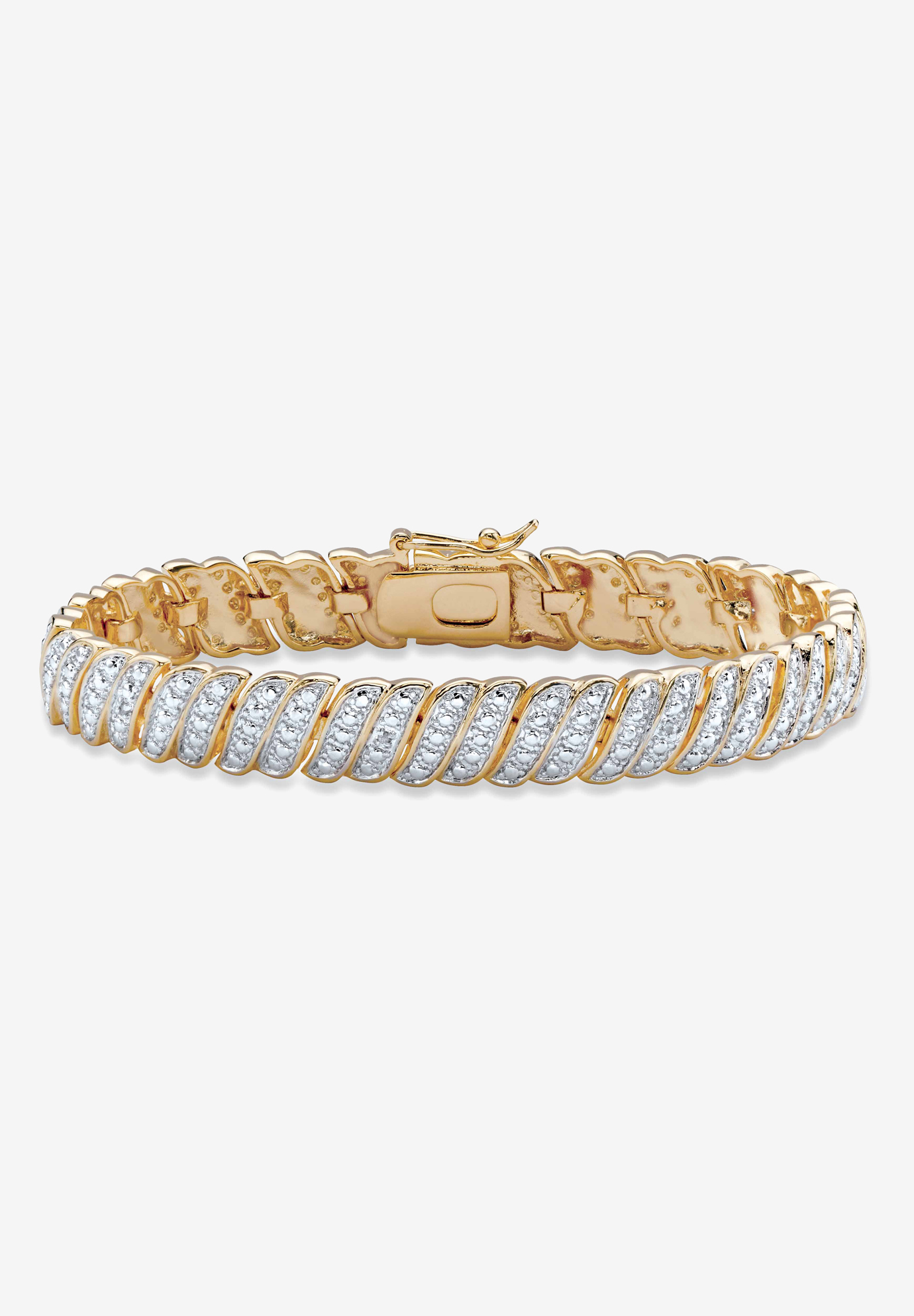 "Yellow Gold Plated Tennis Bracelet (10mm), Genuine Diamond Accent 7"", GOLD"
