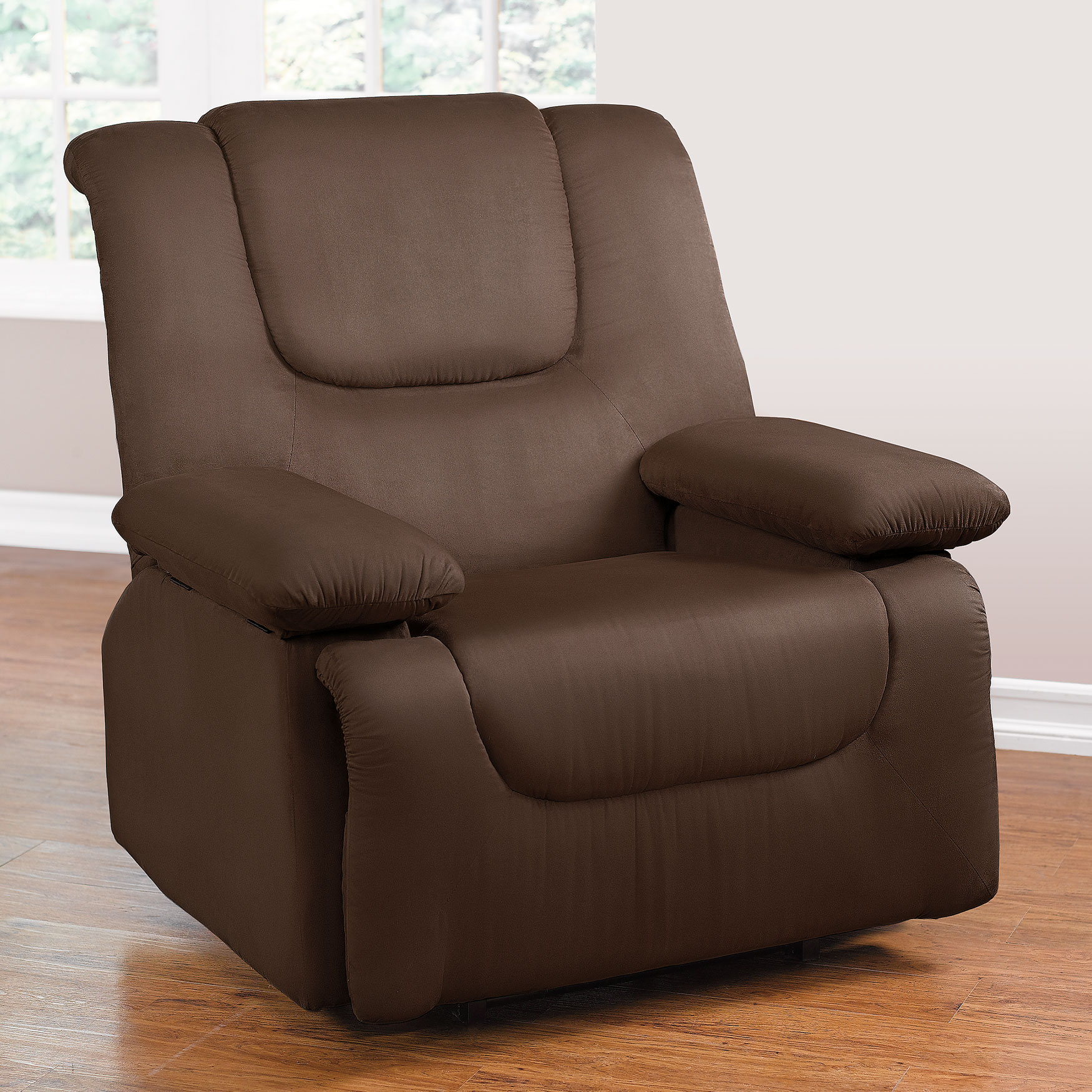 Recliner With Storage Arms Dark Brown