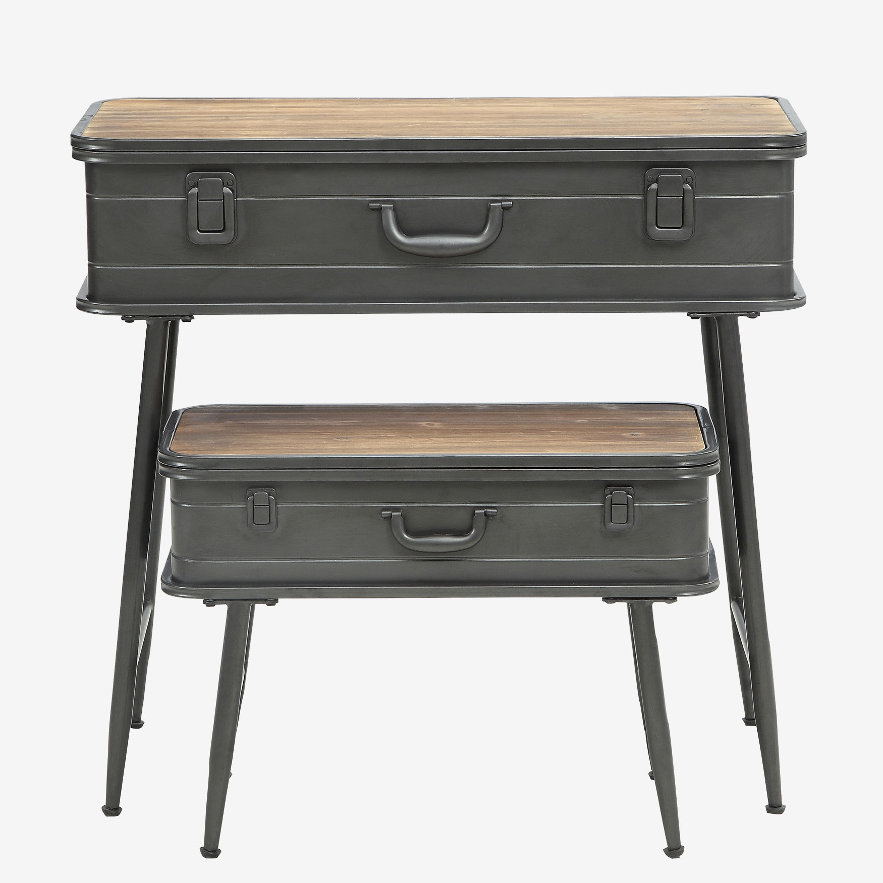Urban Loft Metal 2 Trunk Tables, NATURAL WOOD