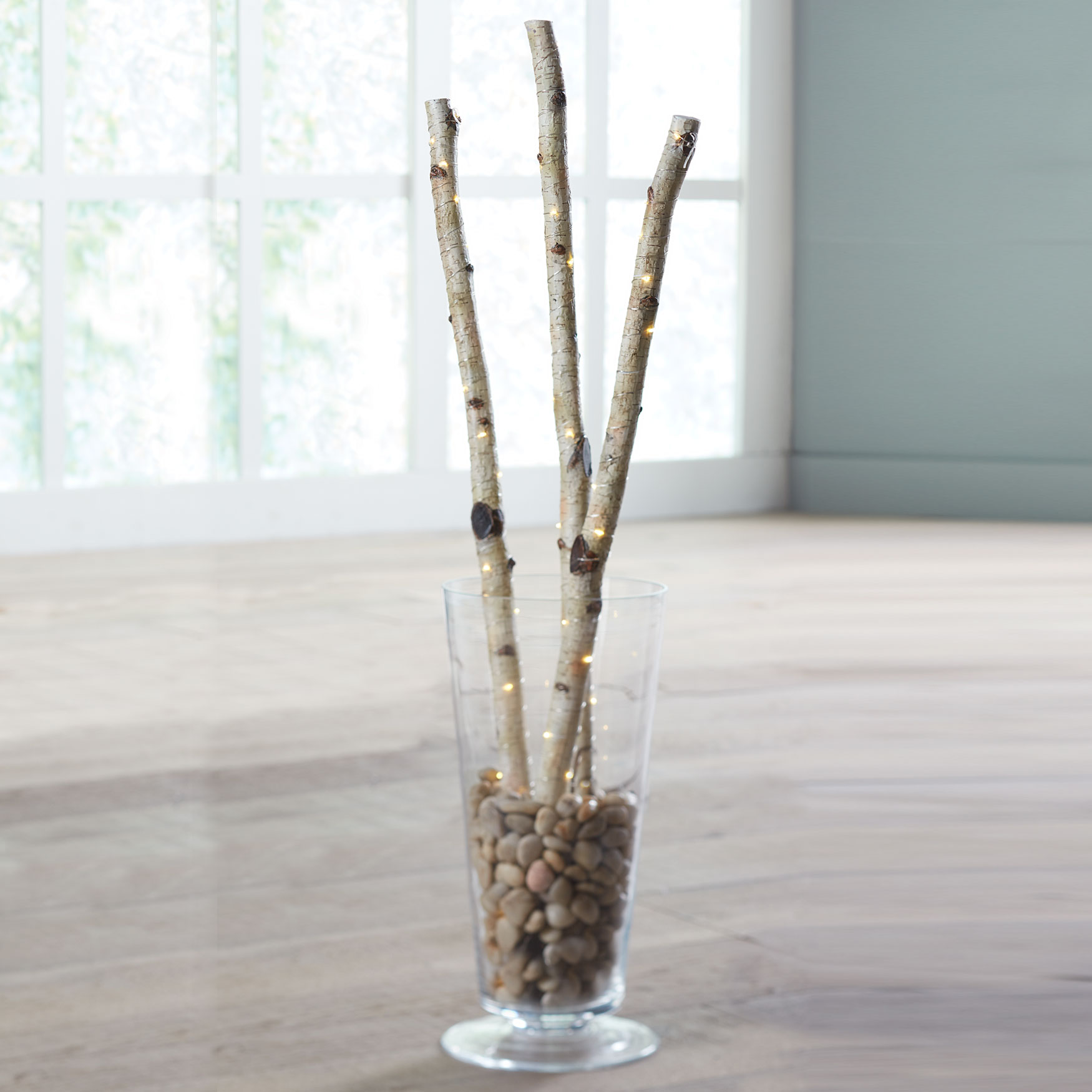 Pre-Lit Faux Birch Branches, Set of 3, NATURAL