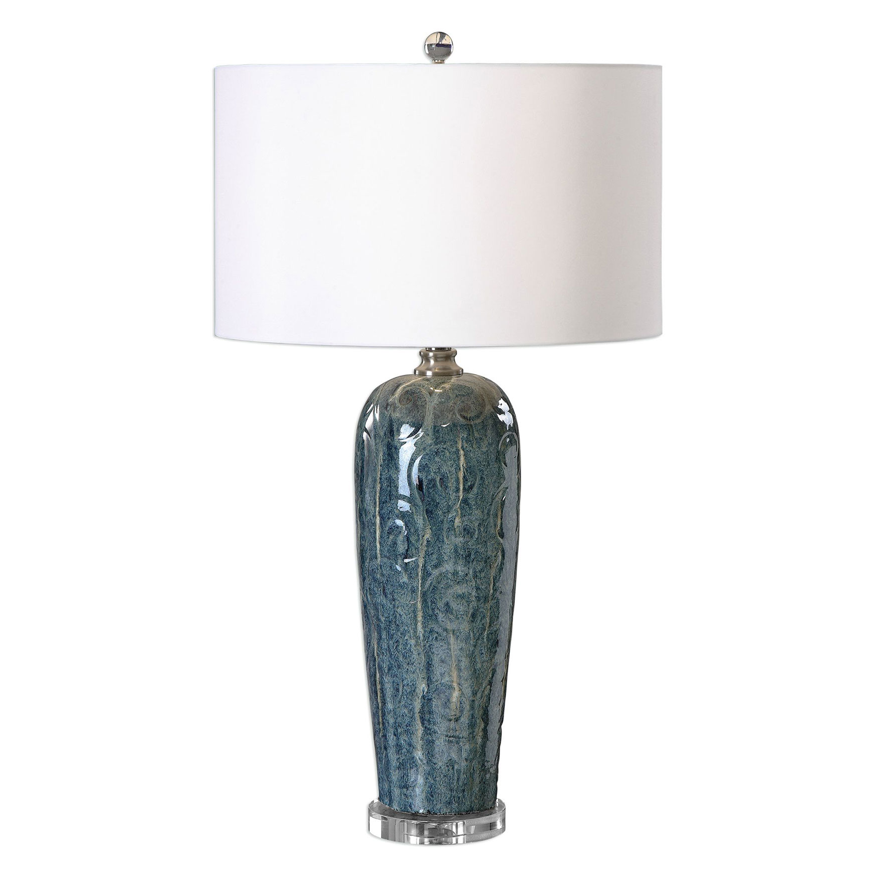 Maira Blue Ceramic Table Lamp, BLUE