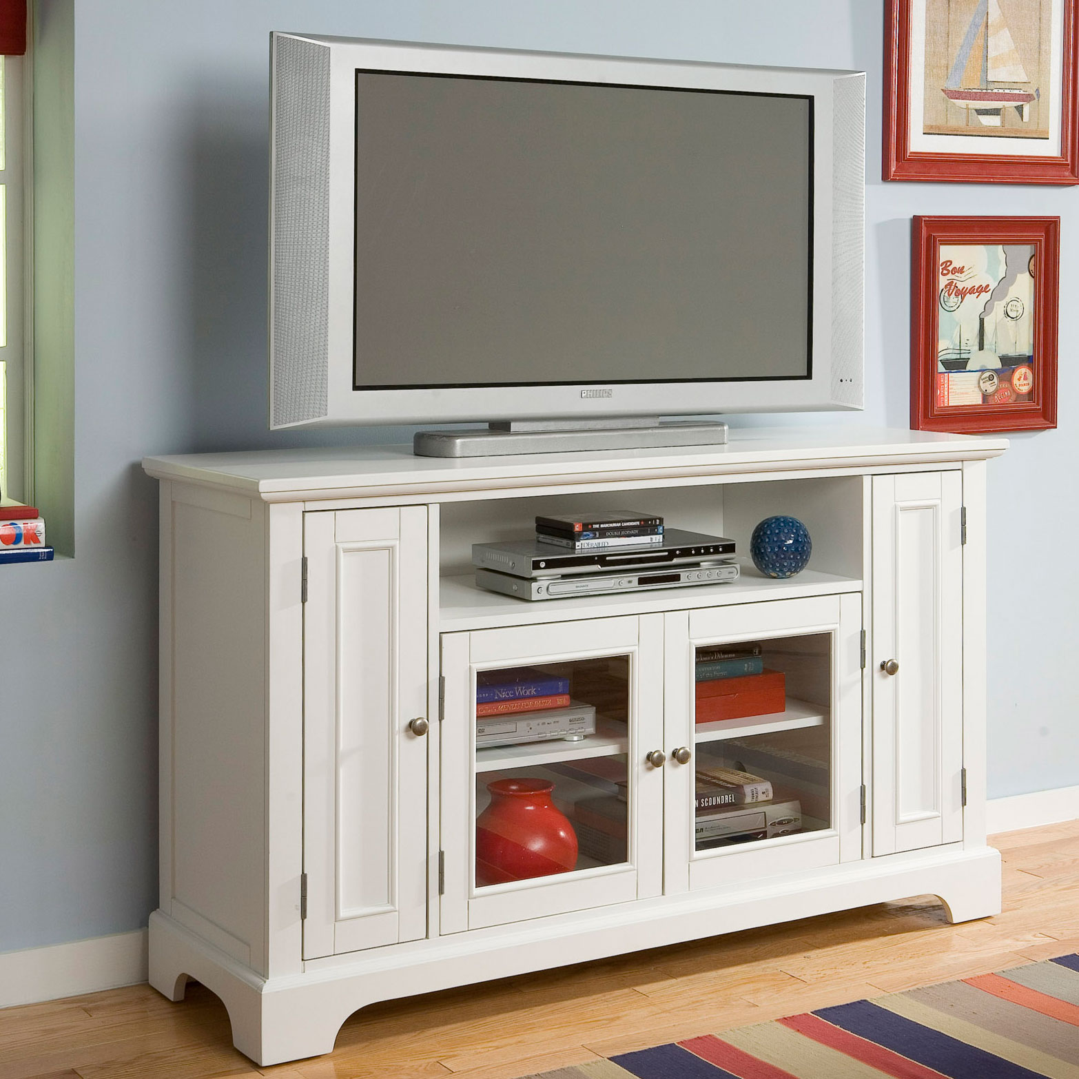Naples Entertainment Credenza, WHITE