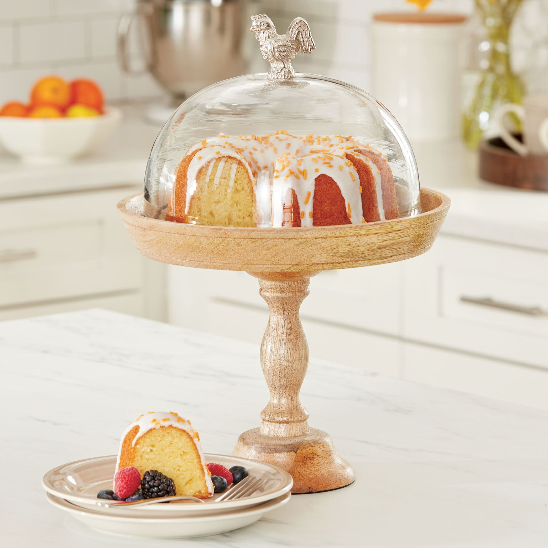 Cake Stand with Rooster Dome, NATURAL