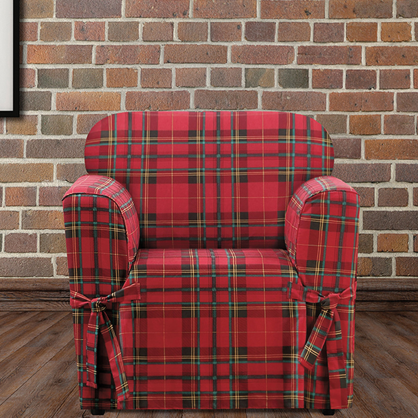Highland Plaid Relaxed Fit Chair Slipcover , RED