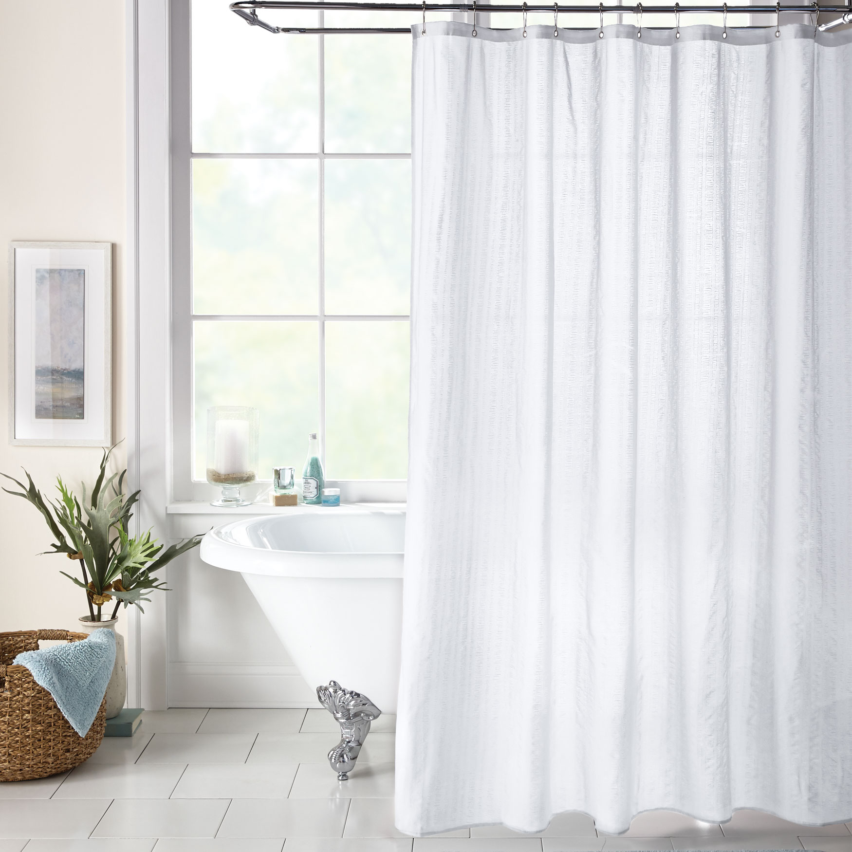 BH Studio Textured Shower Curtain, WHITE
