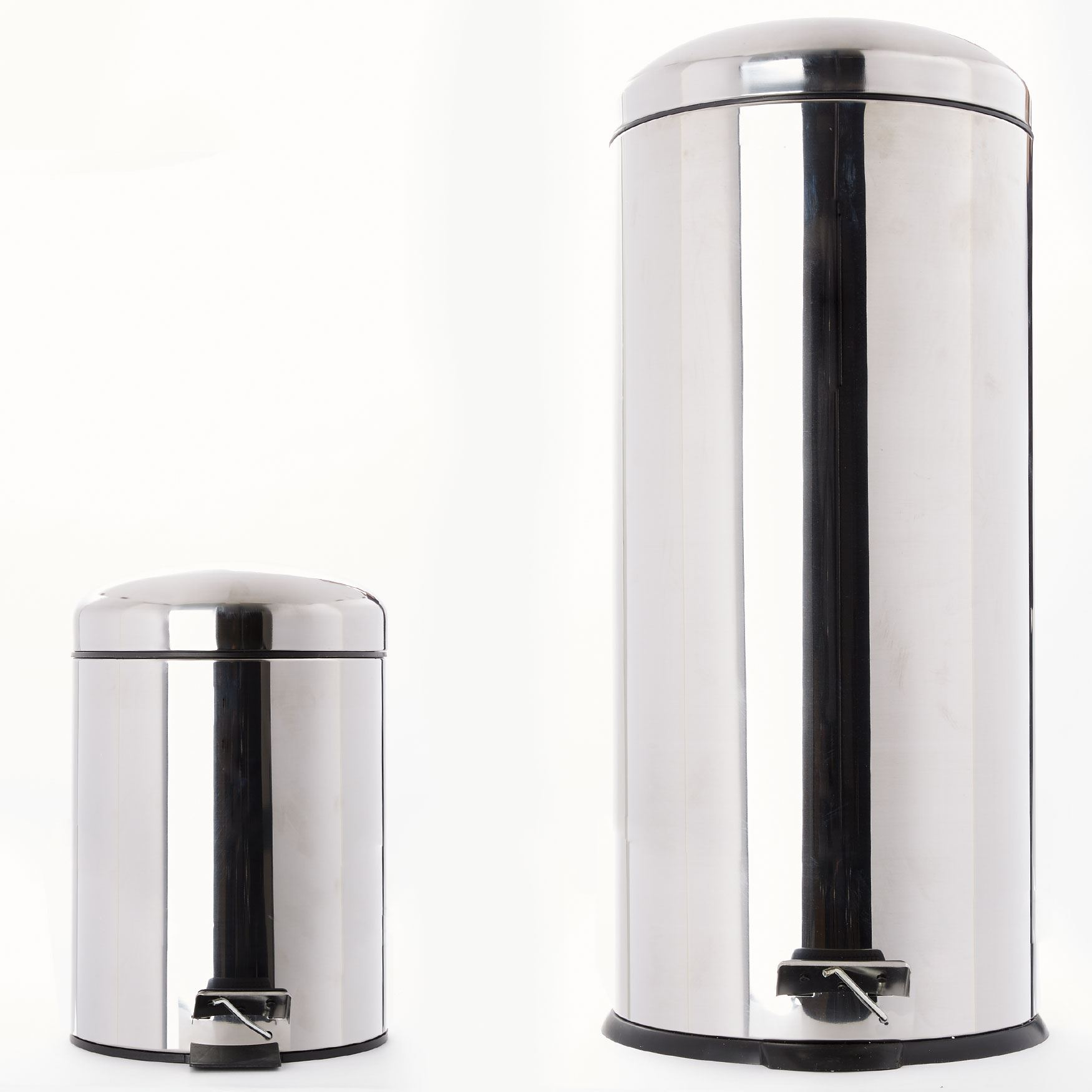 Set of 2 Step Trash Cans , SHINY STAINLESS STEEL