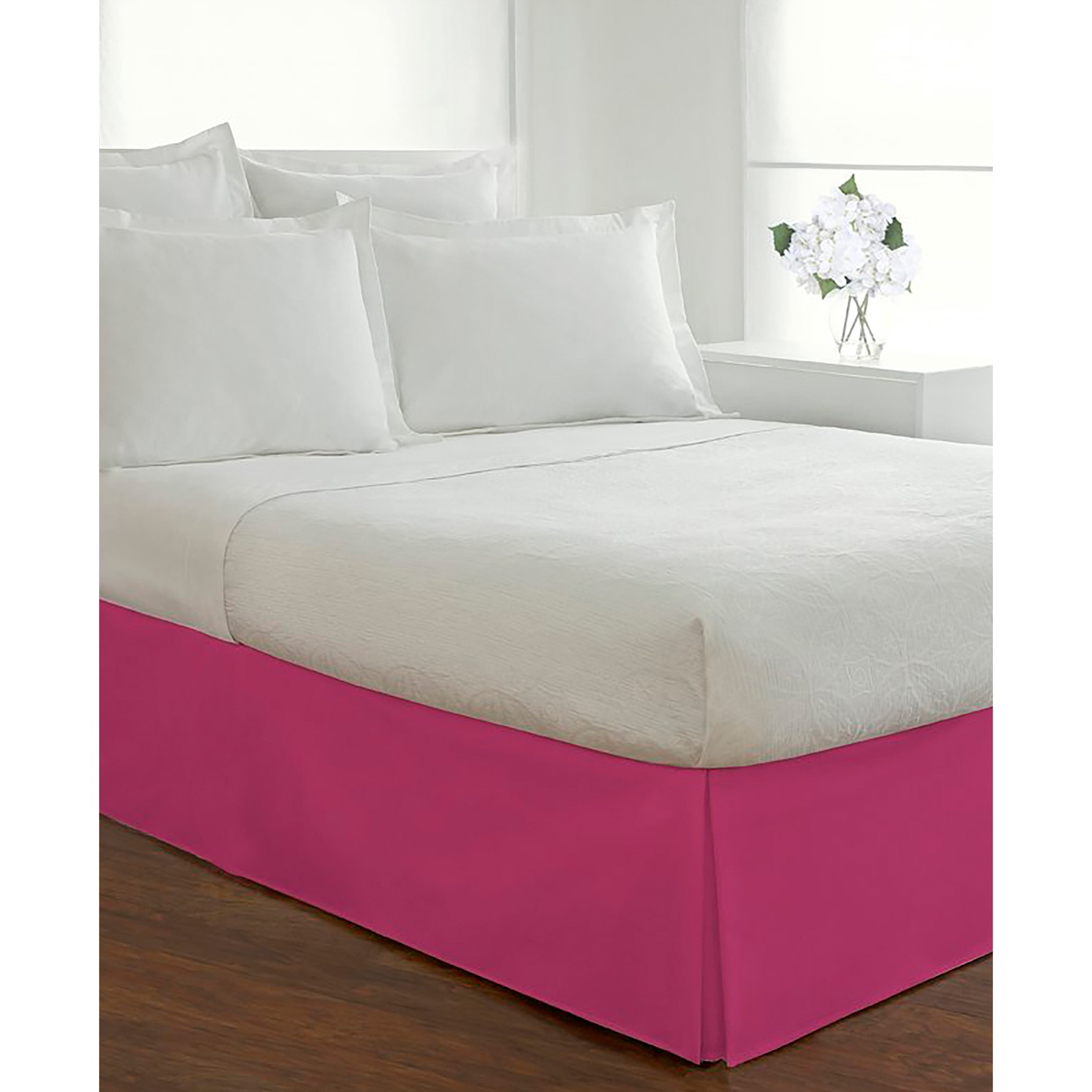 "Luxury Hotel Classic Tailored 14"" Drop Pink Bed Skirt,"