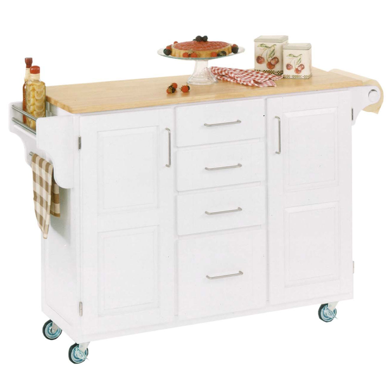 Large White Finish Create a Cart with Wood Top