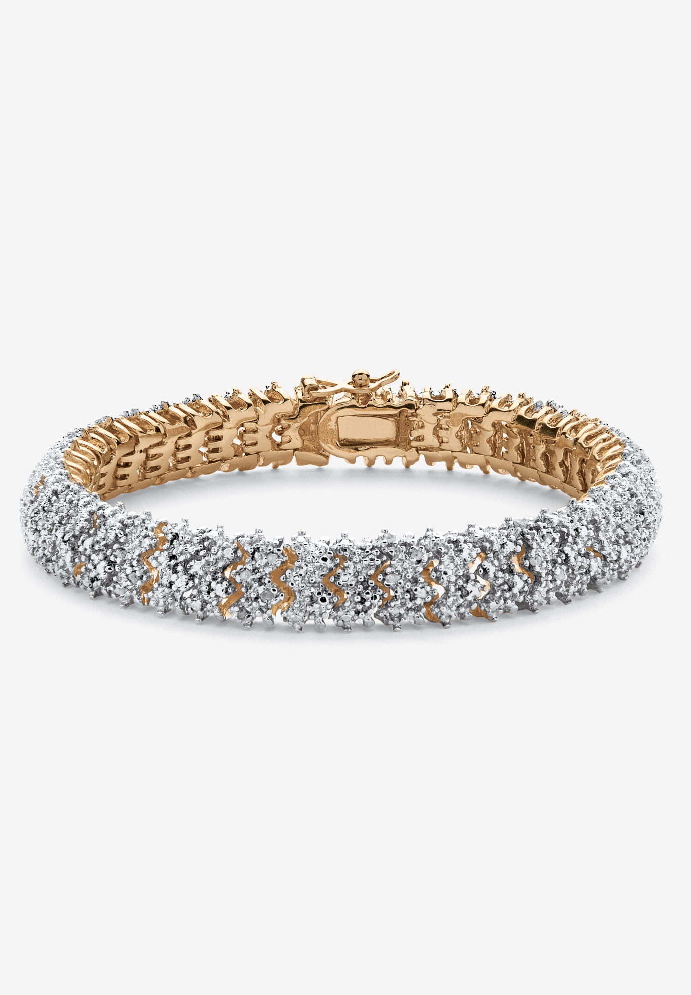 Yellow Gold-Plated Round Genuine Diamond Tennis Bracelet, GOLD