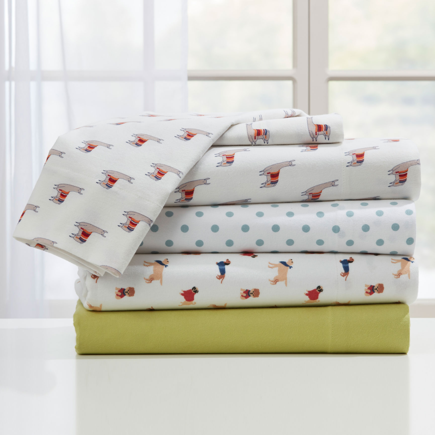 Cotton Flannel Whimsical Print Sheet Set,