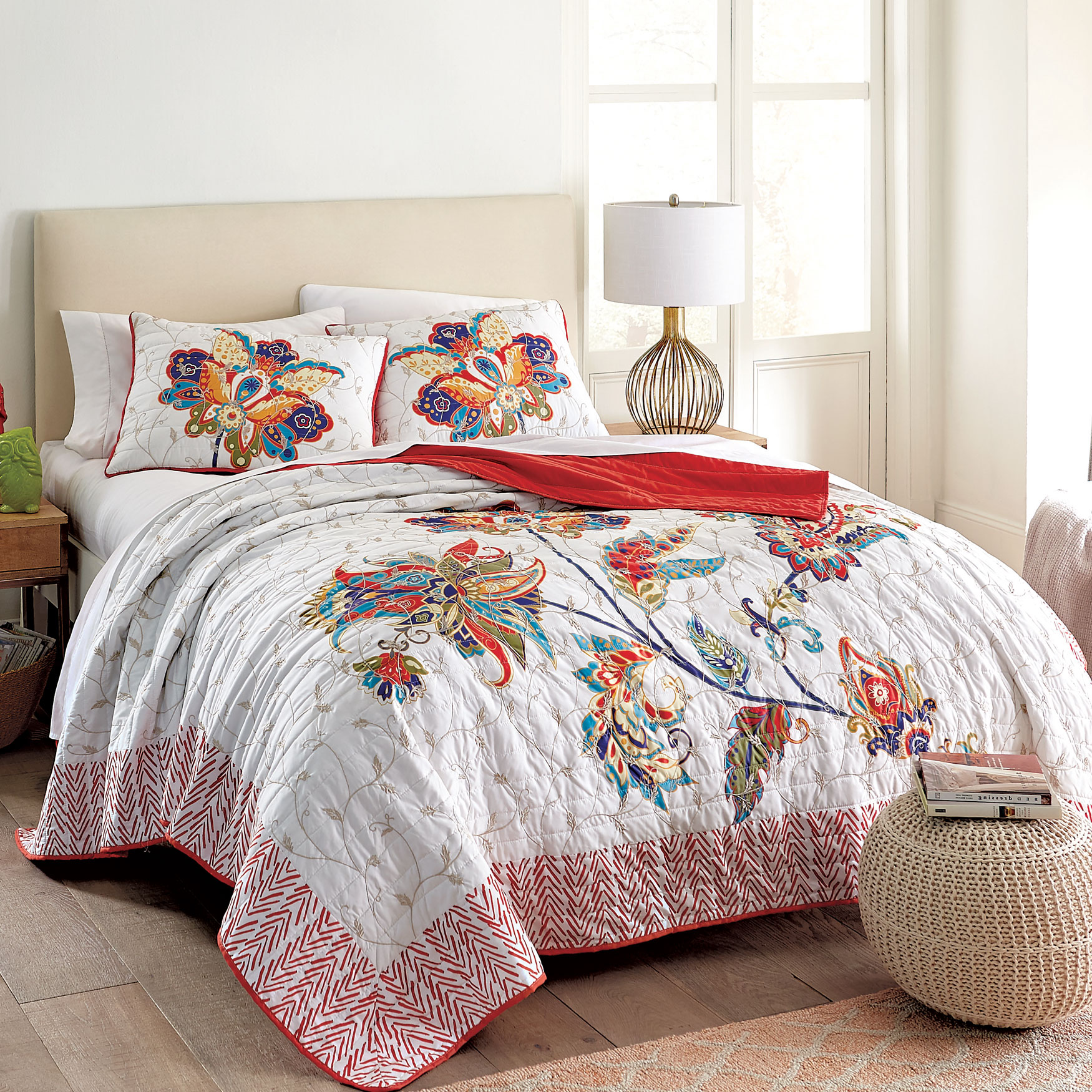 Miranda 3-Pc. Floral Quilt Set,