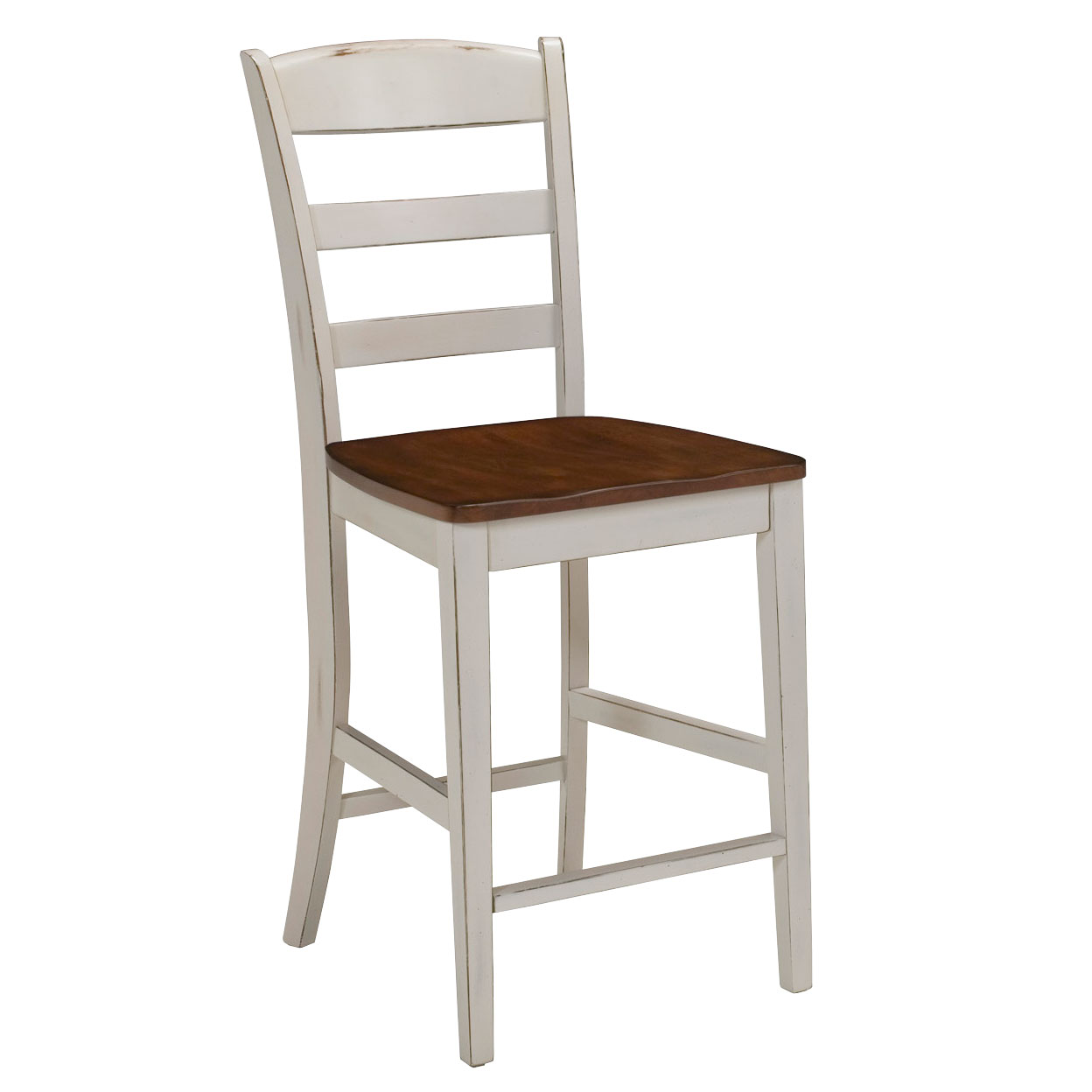Antique White Finished Bar Stool with Distressed Oak Seat, ANTIQUE WHITE