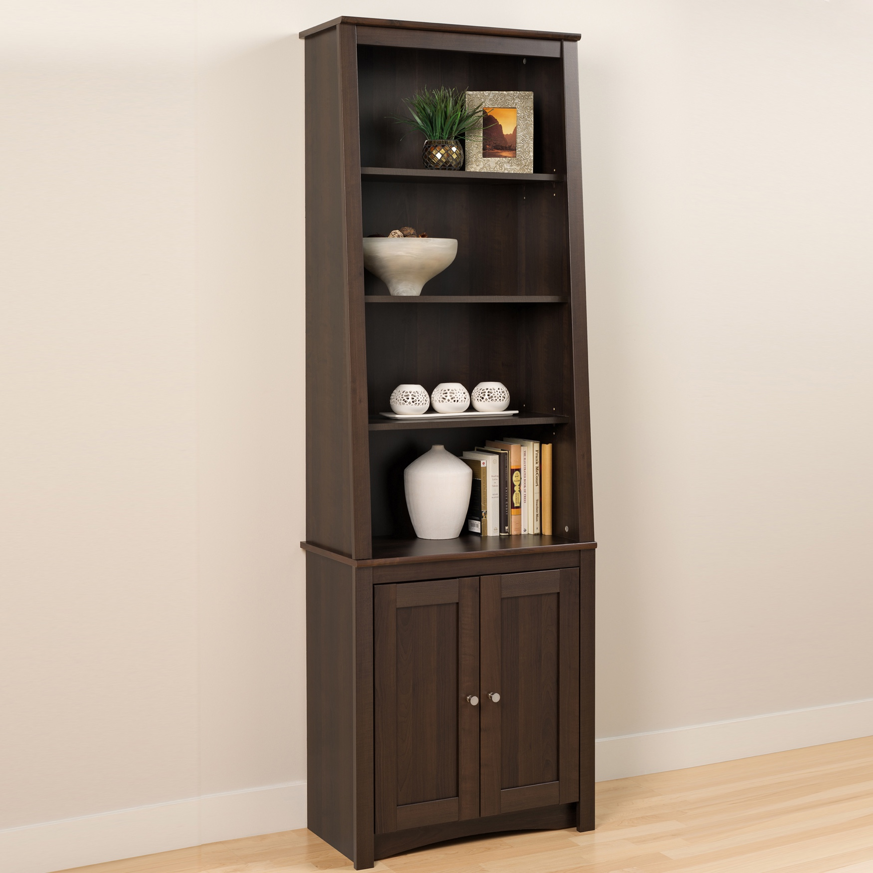 Tall Slant-Back Bookcase with 2 Shaker Doors, Espresso, EXPRESSO