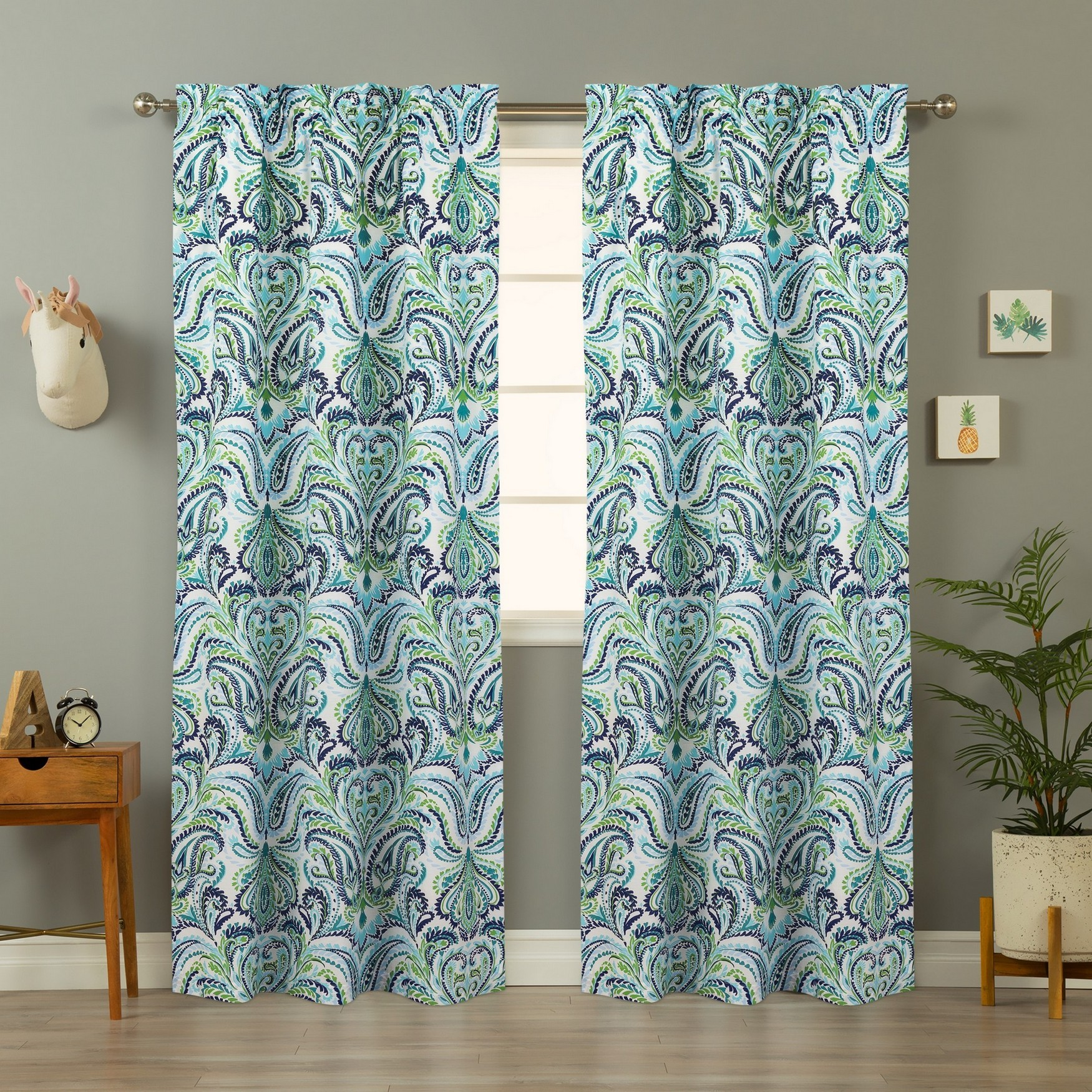 Provence Paisley Window Panel Pair, BLUE WHITE GREEN