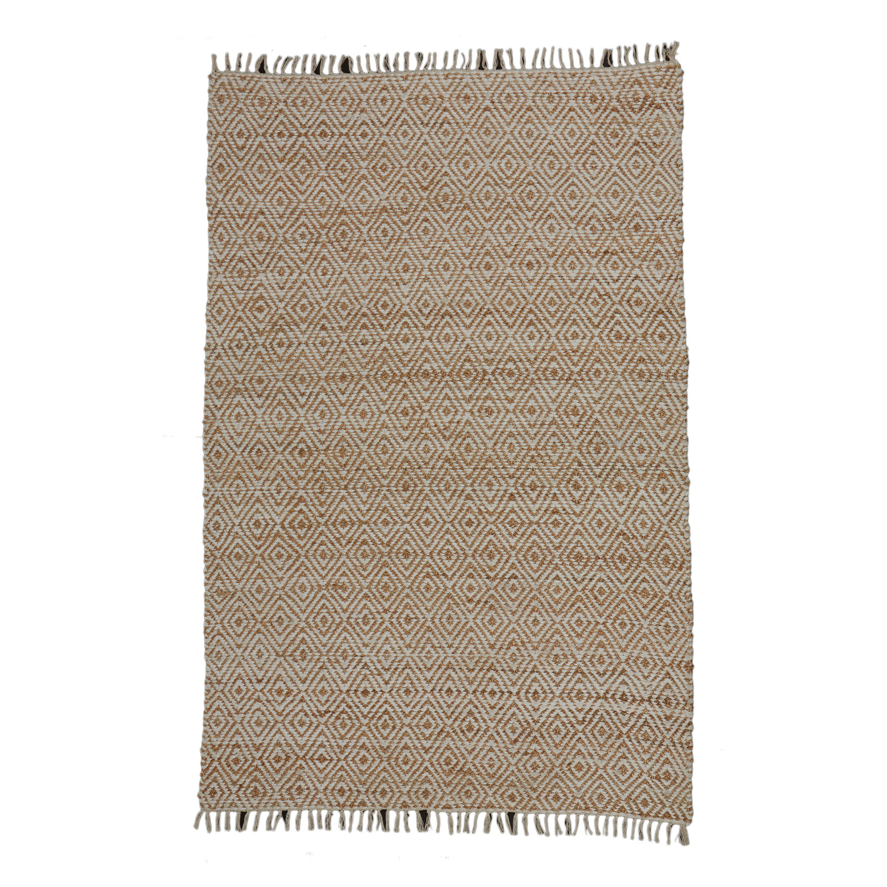 Ellwood Small Diamond Pattern Rug, NATURAL WHITE