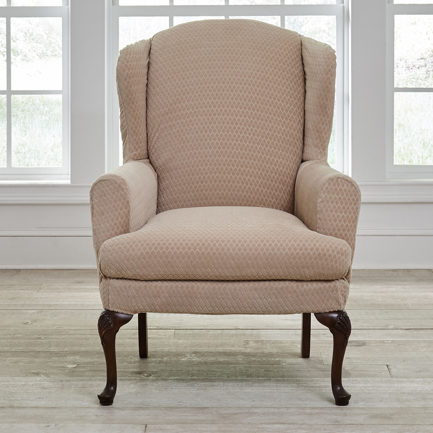 BH Studio® Stretch Diamond Wing Chair Slipcover, LIGHT TAUPE