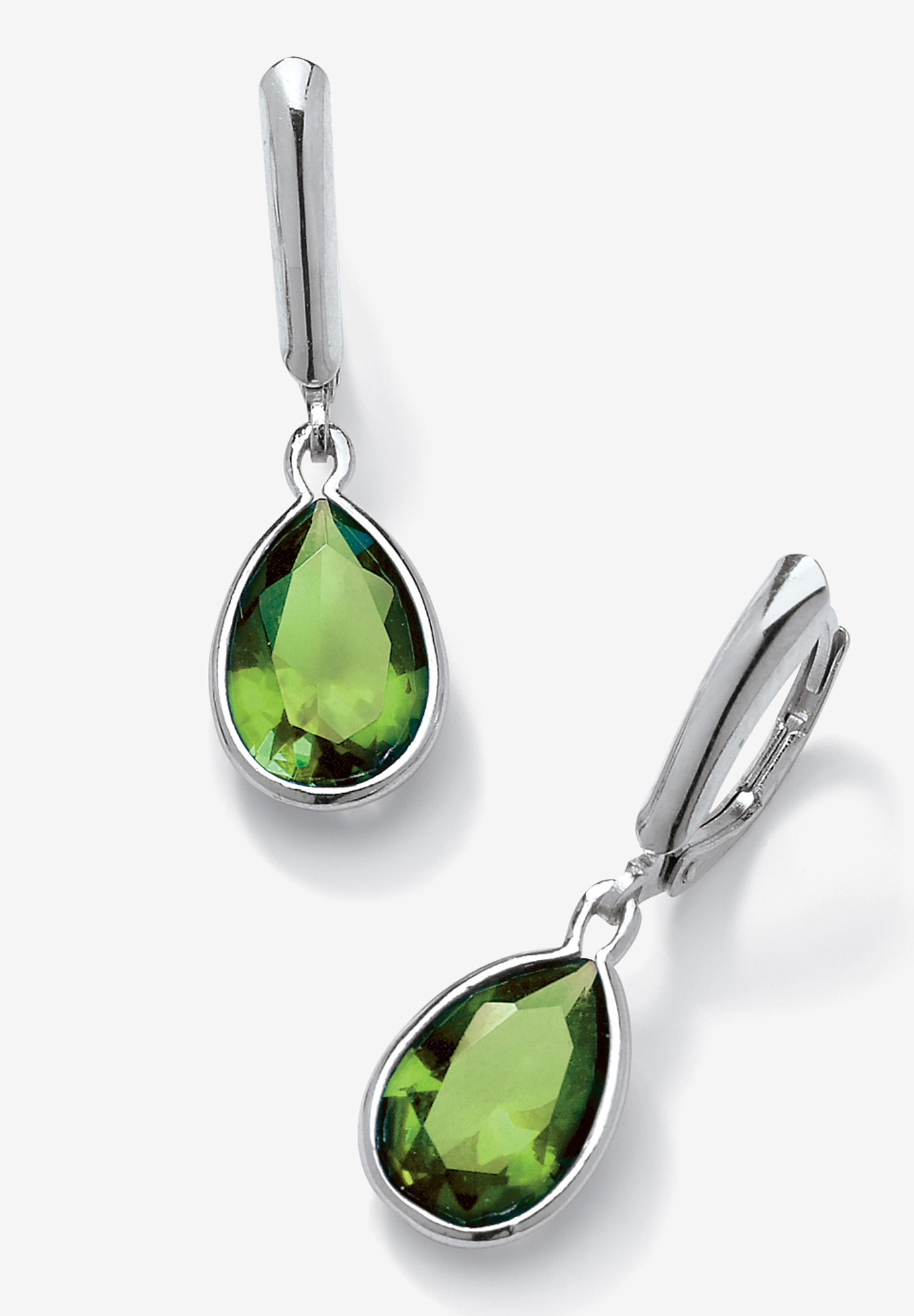 Sterling Silver Drop Earrings Pear Cut Simulated Birthstones,
