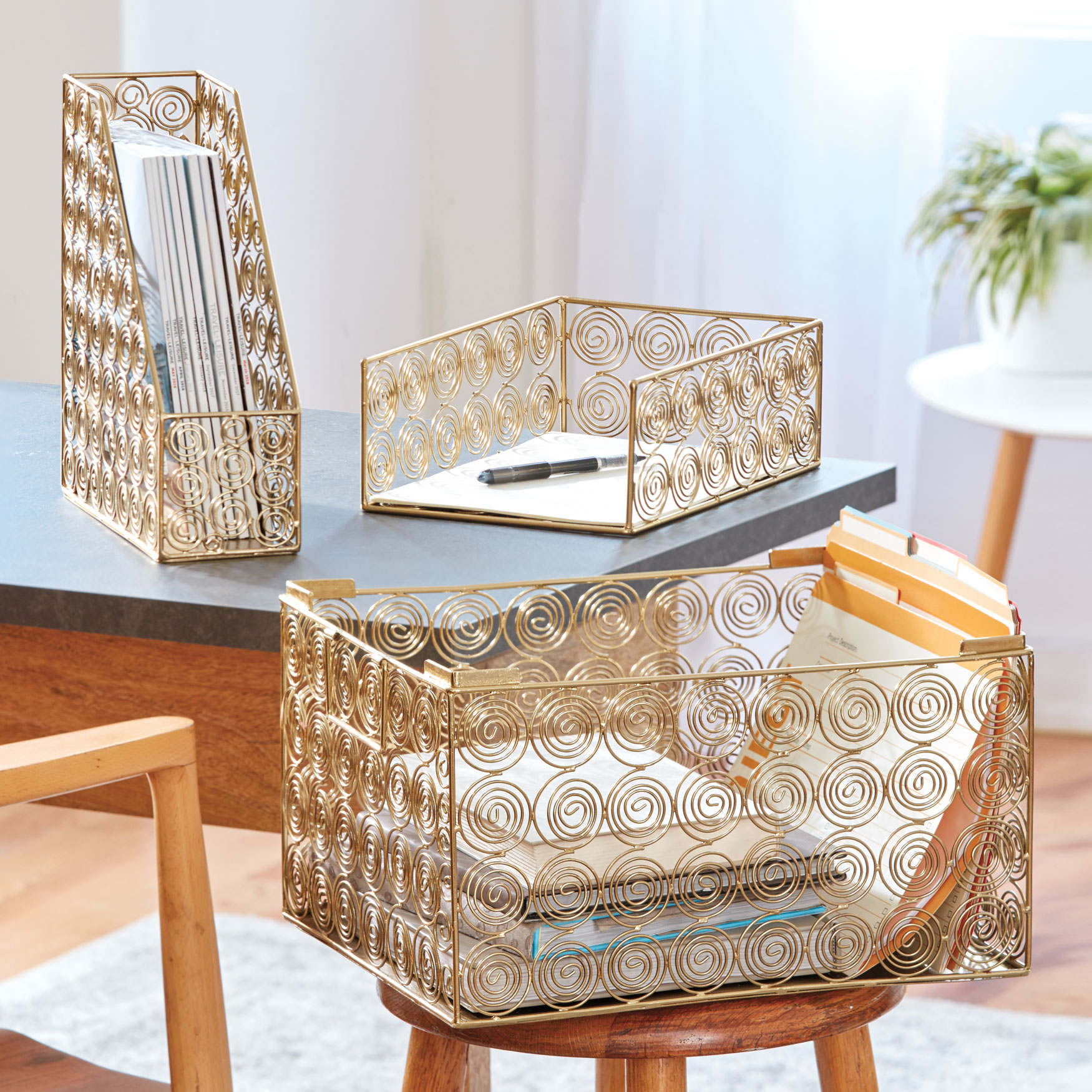 Set of 3 Office Organizers, GOLD