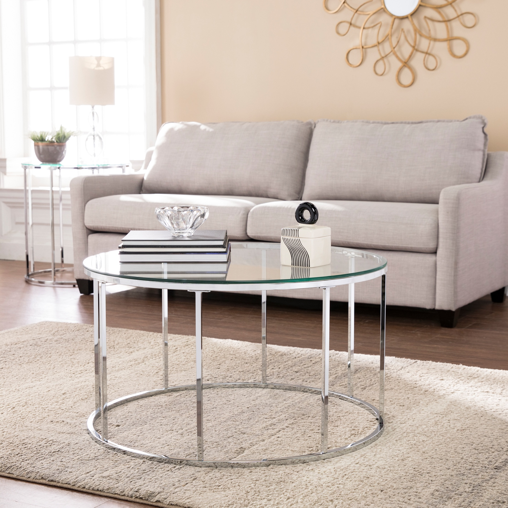 Cranstyn Round Cocktail Table with Glass Top, CHROME