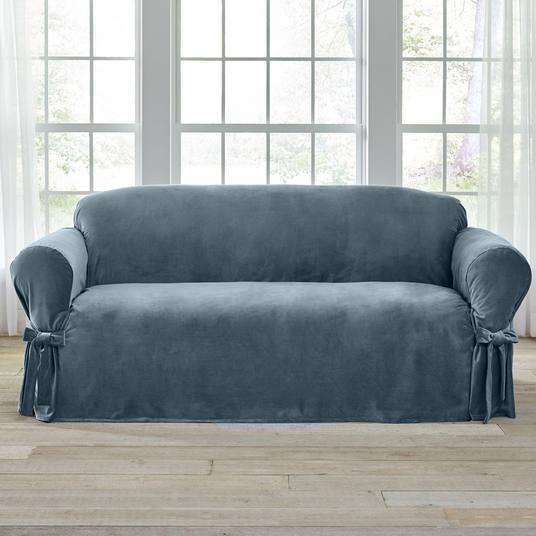 Velvet Sofa Slipcover Blue Haze
