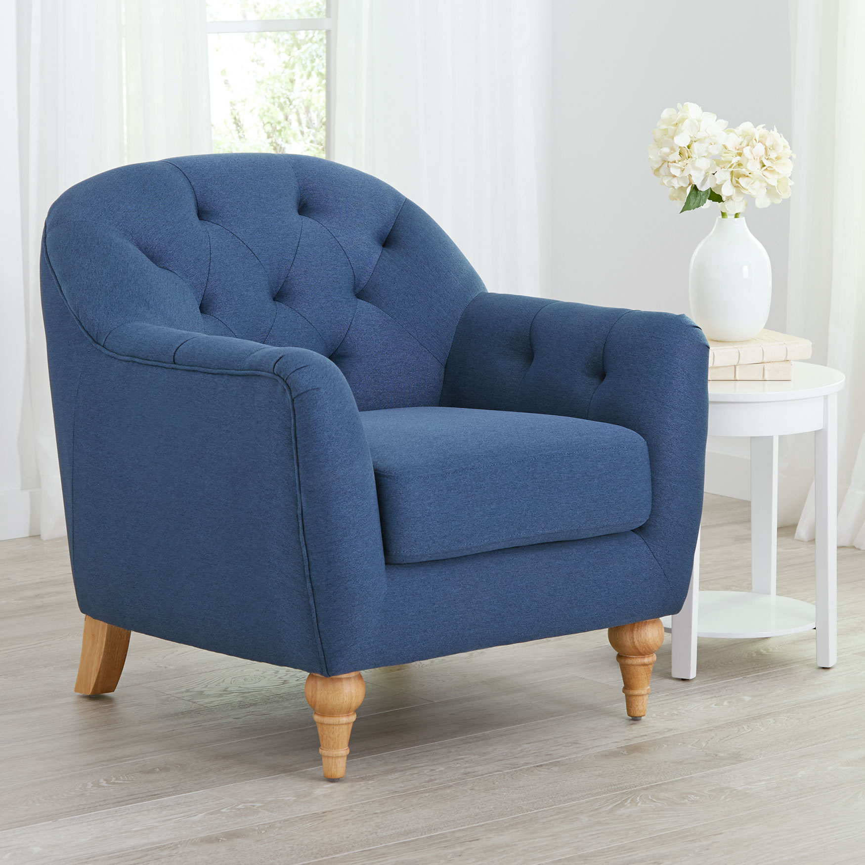 Mae Extra Wide Tufted Occasional Chair, DENIM