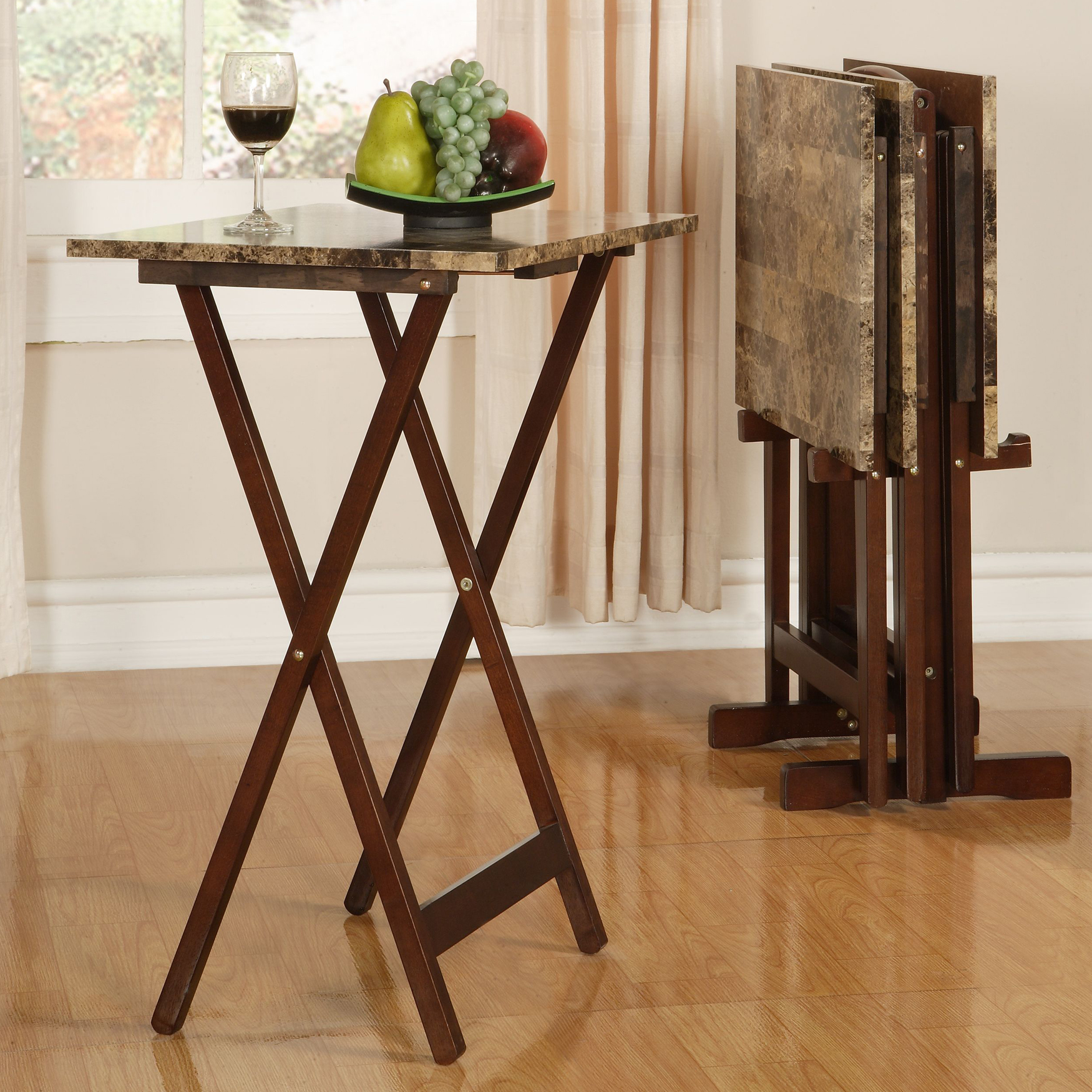 Faux Marble Tray Table Set, MARBLE BROWN