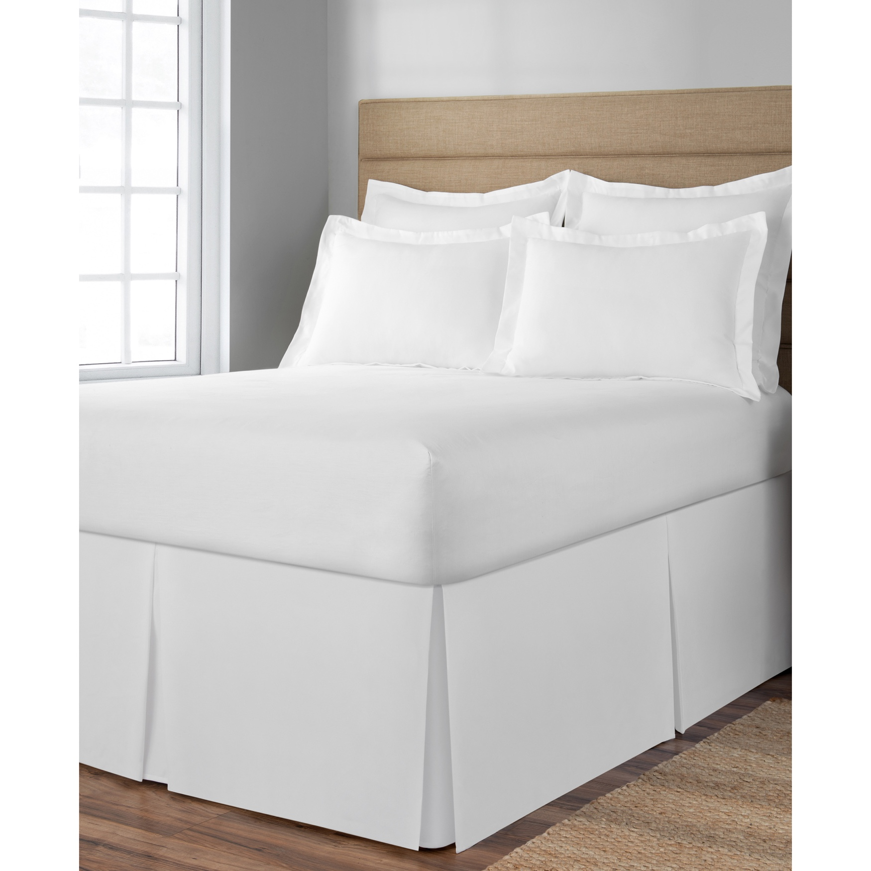 "Space Maker Extra-Long 21"" Drop Length White Bed Skirt,"