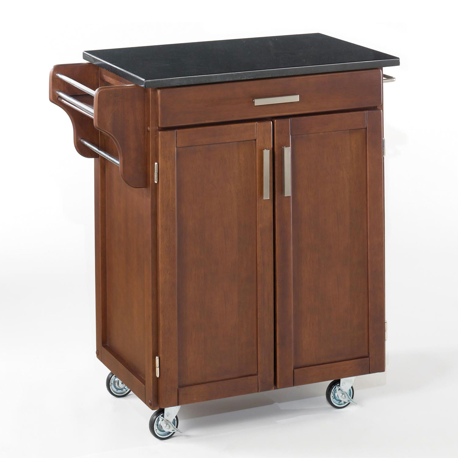 Large Cherry Finish Create a Cart with Black Granite Top , CHERRY BLACK