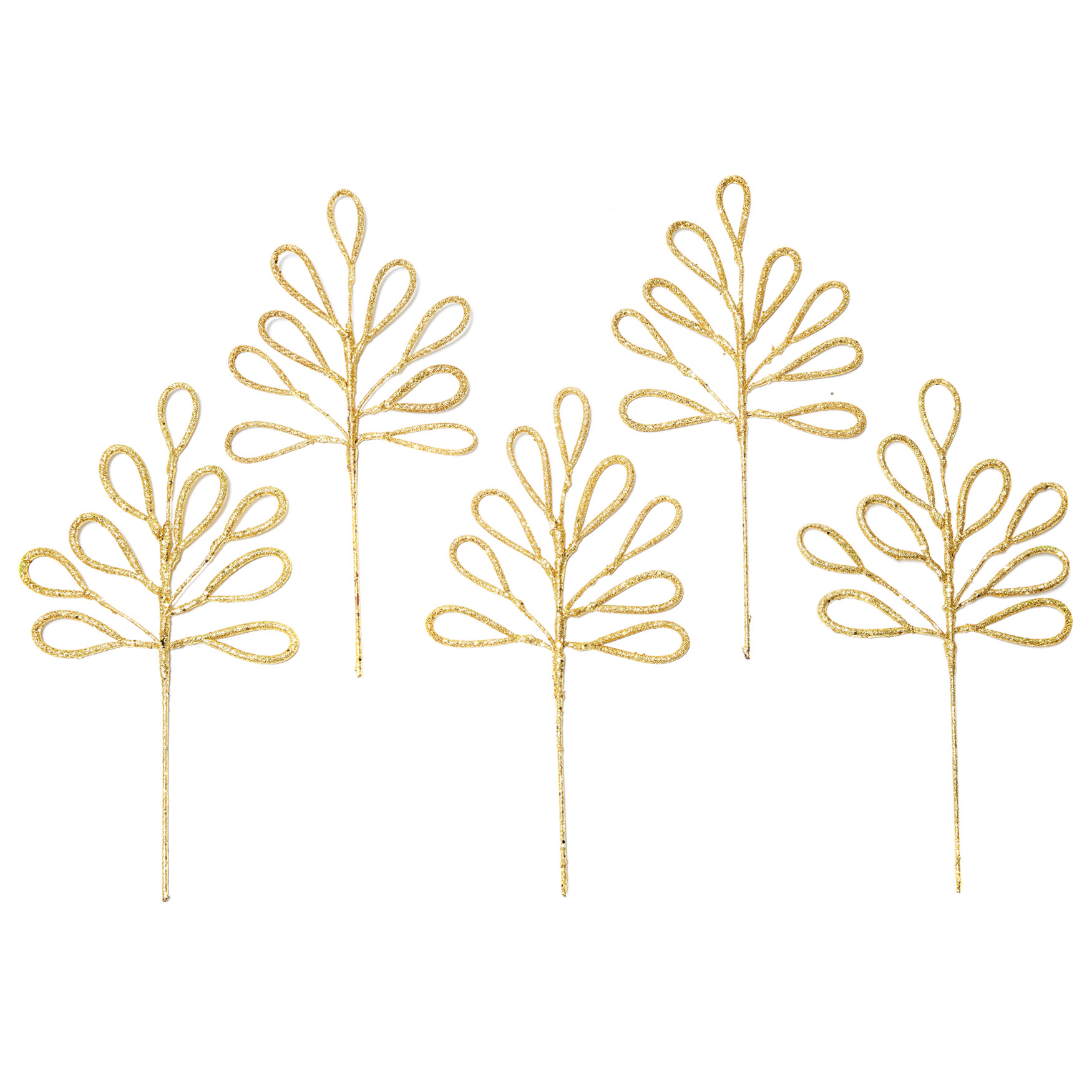 Florist-Style Loopy Tree Pick, Set of 5 , GOLD