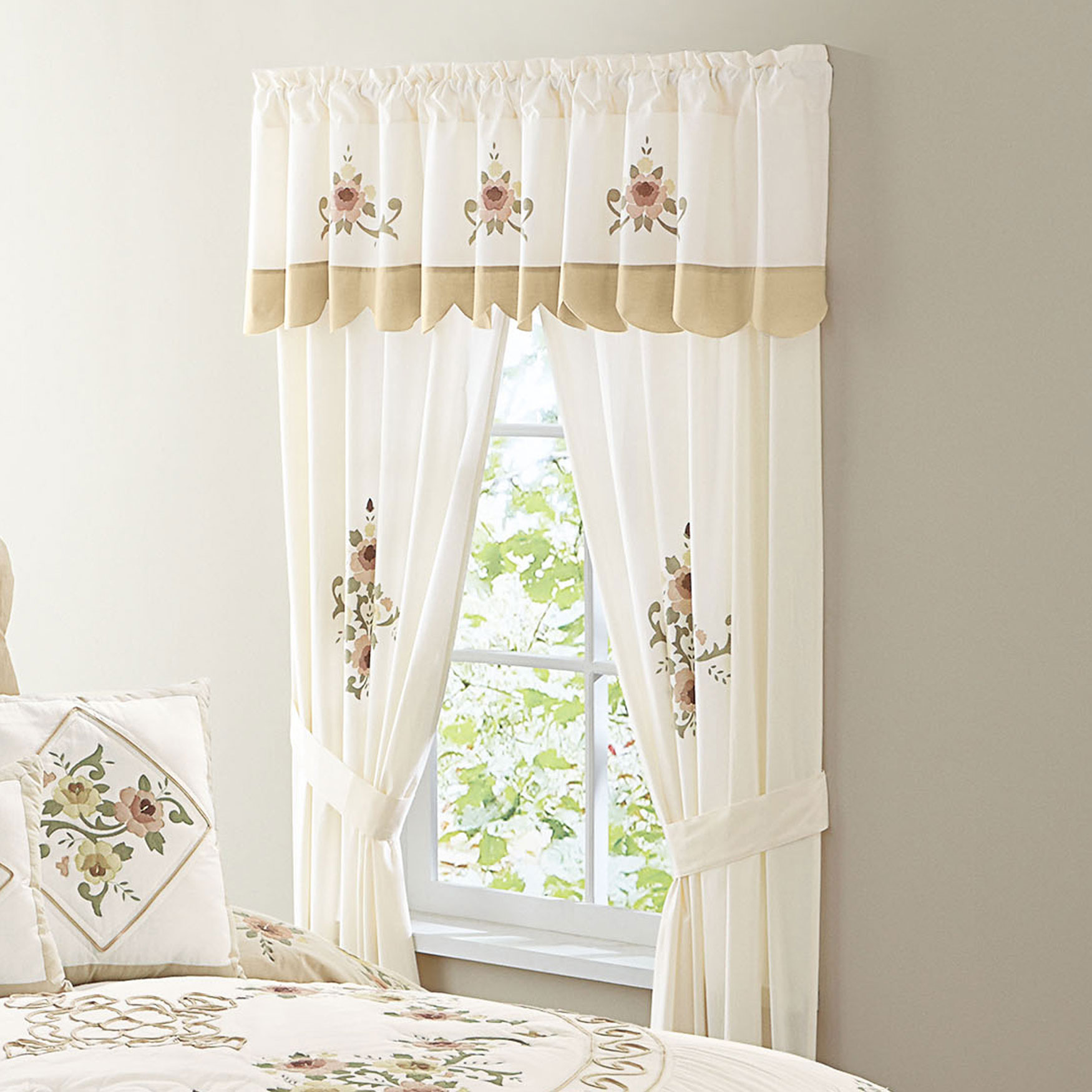 Ava Embroidered Panel Set with Tiebacks, TAUPE