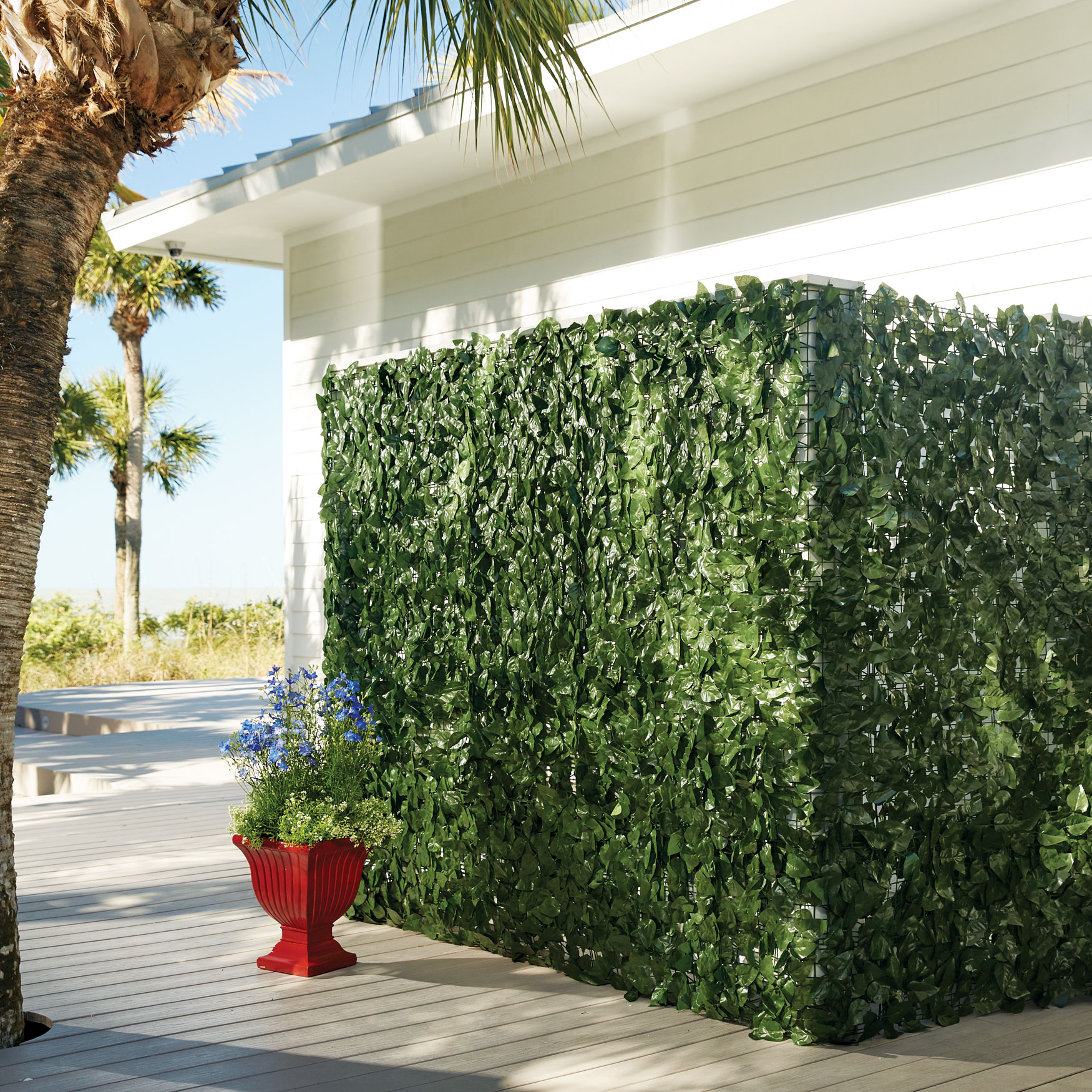 "39"" Faux Greenery Privacy Screen, GREEN"