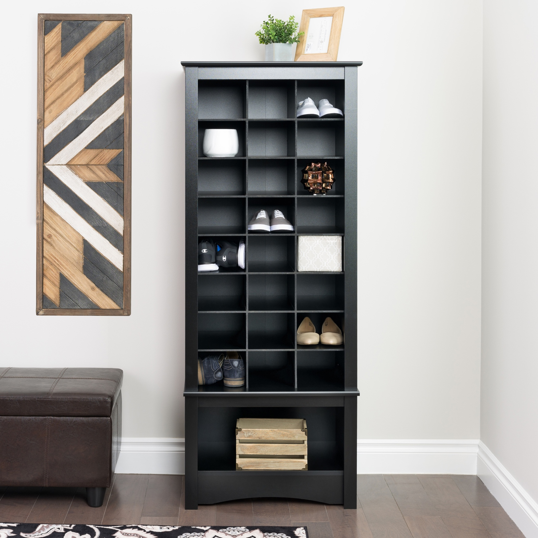 24-Pair Shoe Storage Rack with Bottom Shelf,