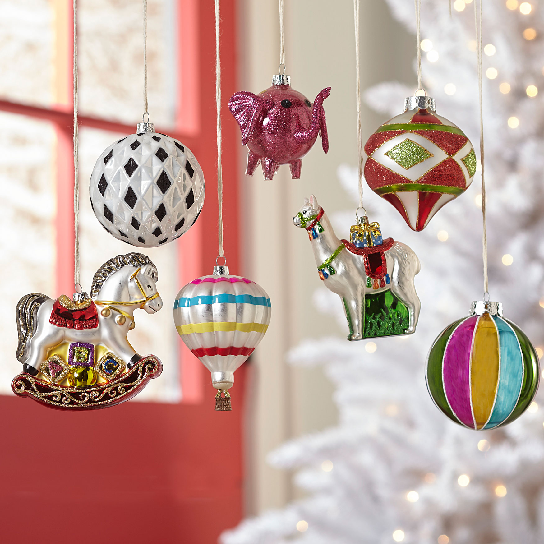 Carnival Ornaments, Set of 7, MULTI
